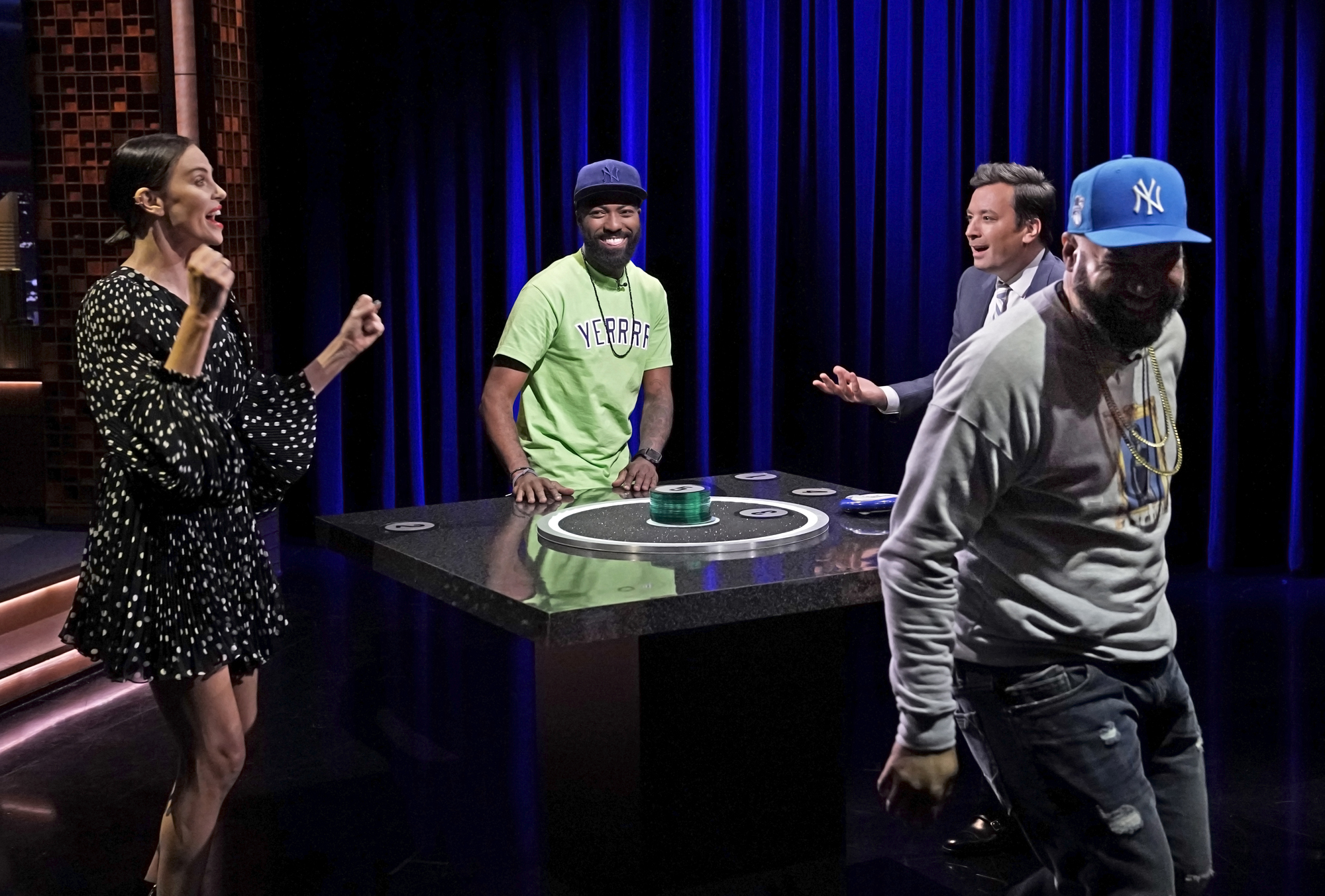 "Charlize Theron, comedian Desus Nice, host Jimmy Fallon, and comedian The Kid Mero play ""Catchphrase"""