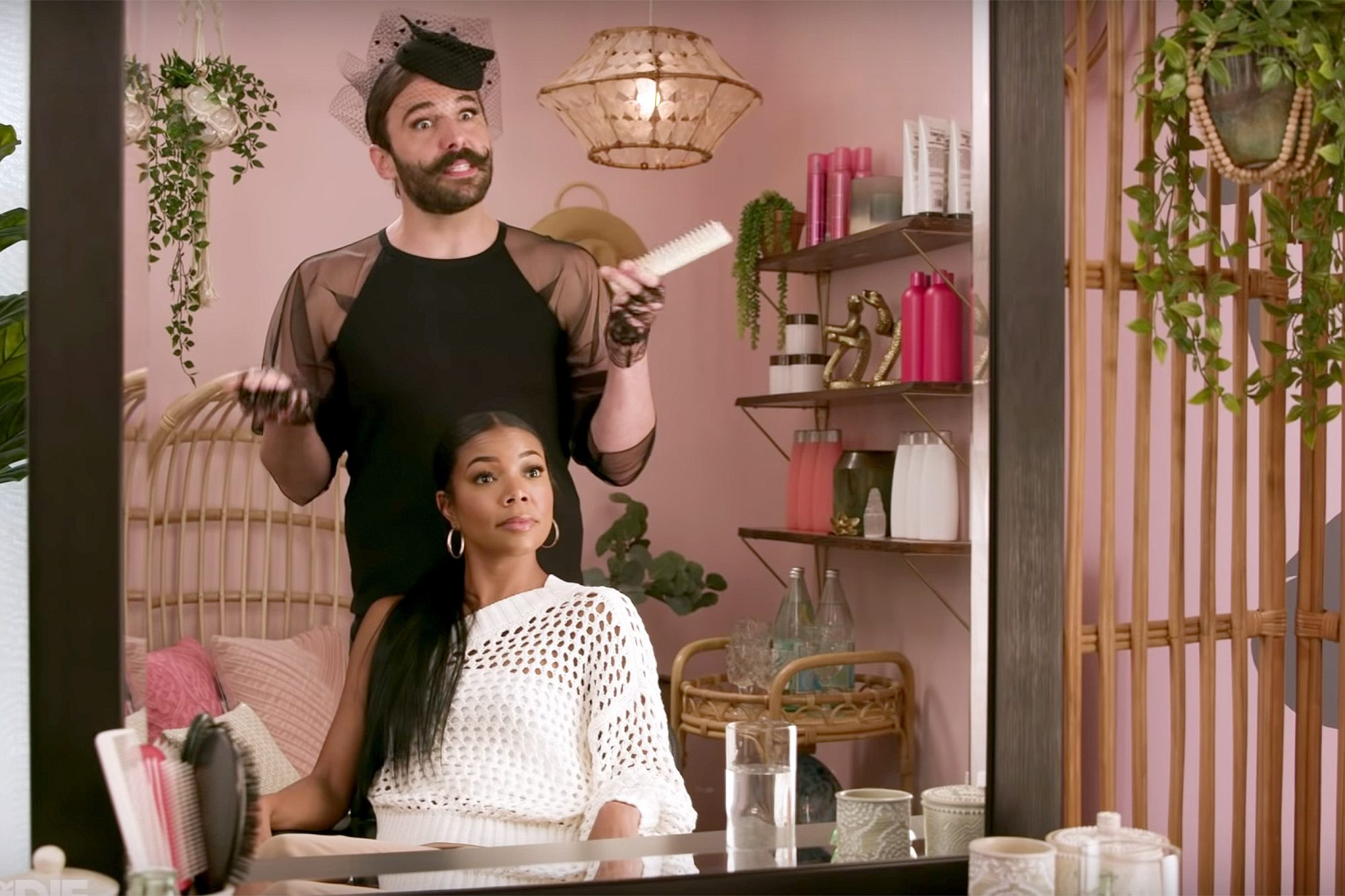 Gay of Thrones (screen grab) Jonathan Van Ness and Gabrielle Union (screen grab) CR: Funny Or Die/YouTube