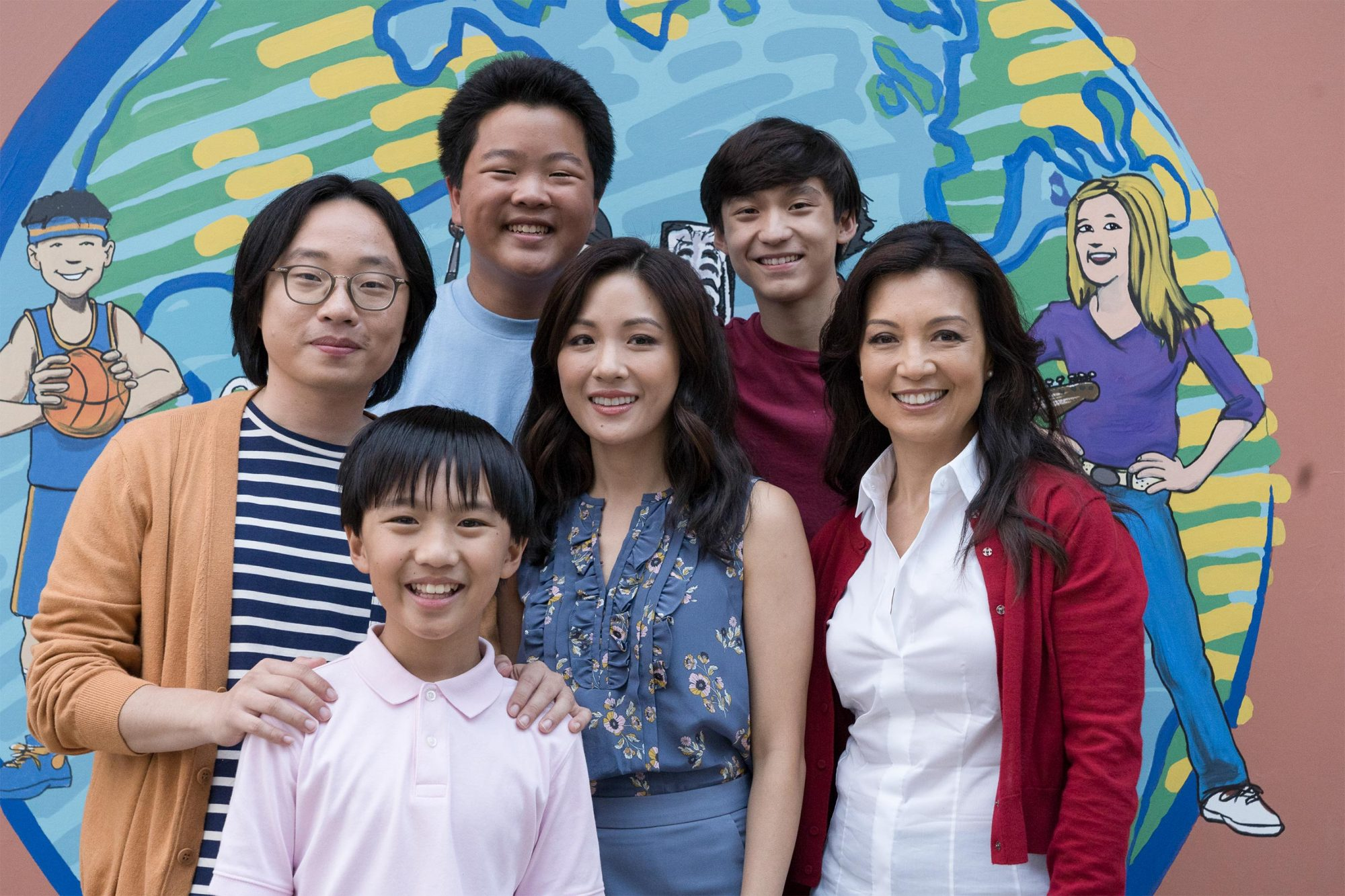 "FRESH OFF THE BOAT - ""Mo' Chinese Mo' Problems"" - Jessica and Lewis are thrilled beyond belief when they discover that a Chinese family - Elaine (Ming-Na Wen), Julius (Reggie Lee) and son, Horace (Jimmy O. Yang) - have moved into the neighborhood. Jessica immediately bonds with Elaine, who helps her solve an issue with the HOA, and Louis decides to introduce Julius to Marvin and hang out together. Meanwhile, when Evan goes door-to-door collecting information for the census bureau, Eddie and Emery come up with a plan to impersonate being census takers in order to find out when the owners of a pool are out of the house so they can sneak over and use it, on ""Fresh Off the Boat,"" FRIDAY, NOV. 9 (8:00-8:30 p.m. EST), as part of the new TGIF programming block on The ABC Television Network. (Byron Cohen via Getty Images) JIMMY O. YANG, IAN CHEN, HUDSON YANG, CONSTANCE WU, FORREST WHEELER, MING-NA WEN"
