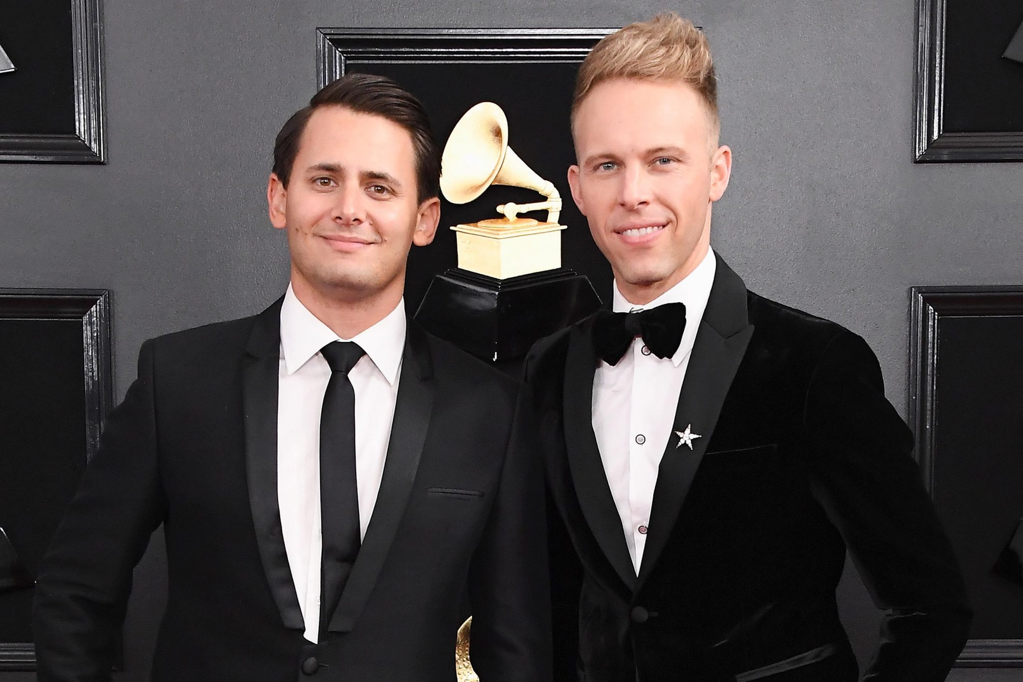LOS ANGELES, CA - FEBRUARY 10: Benj Pasek (L) and Justin Paul attend the 61st Annual GRAMMY Awards at Staples Center on February 10, 2019 in Los Angeles, California. (Photo by Steve Granitz/WireImage)