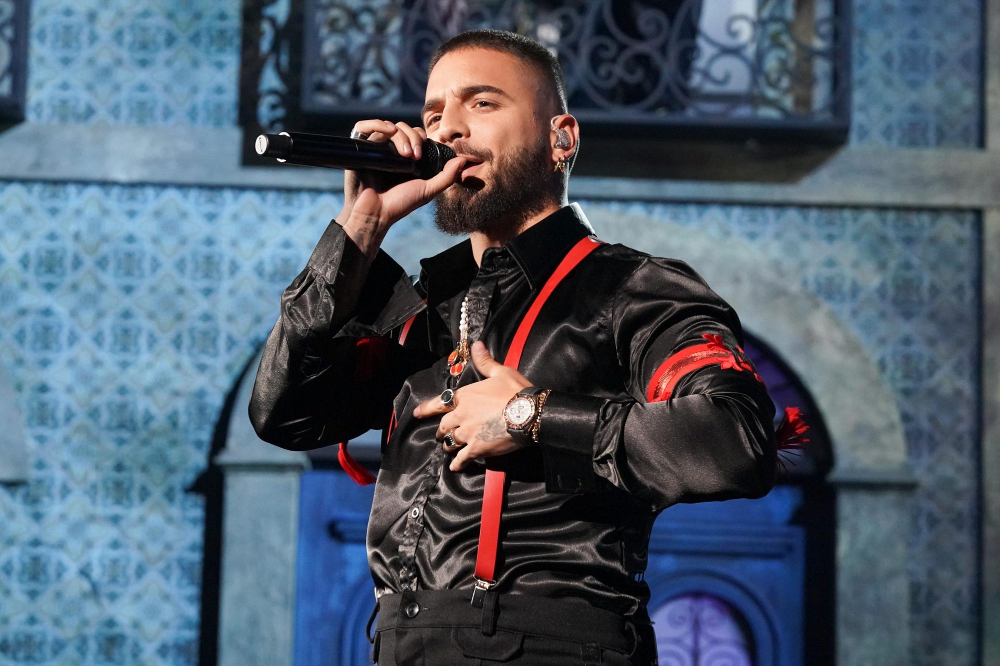 BILLBOARD MUSIC AWARDS -- Show Backstage -- 2019 BBMA at the MGM Grand, Las Vegas, Nevada -- Pictured: Maluma -- (Photo by: Todd Williamson/NBC/NBCU Photo Bank via Getty Images)
