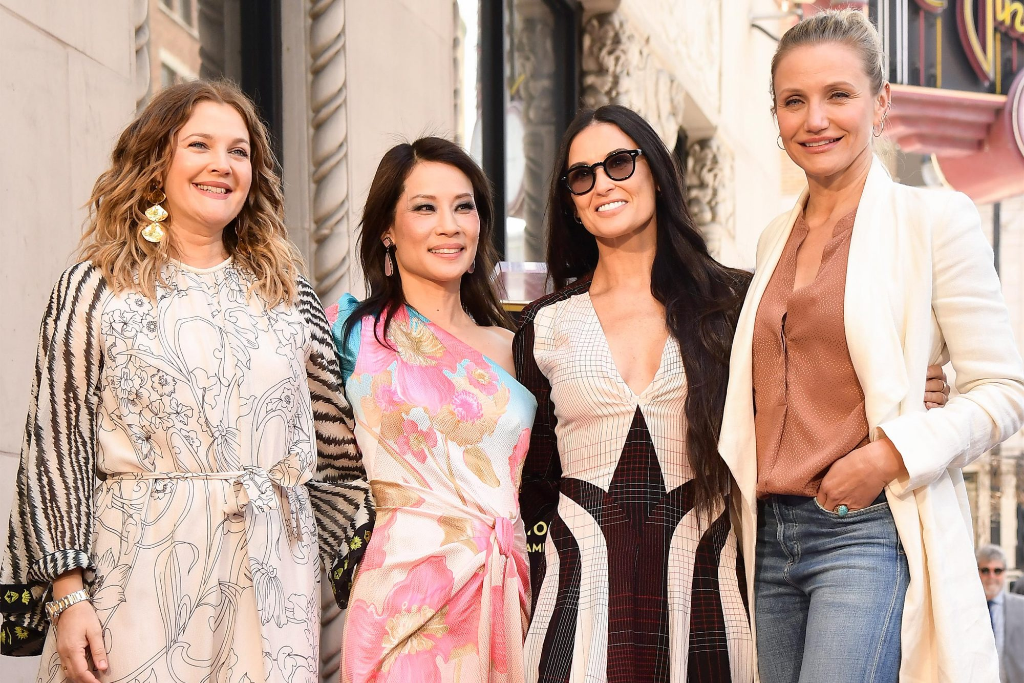 HOLLYWOOD, CALIFORNIA - MAY 01: (L-R) Drew Barrymore, Lucy Liu, Demi Moore and Cameron Diaz attend a ceremony honoring Liu with a star on the Hollywood Walk Of Fame on May 1, 2019 in Hollywood, California. (Photo by Matt Winkelmeyer/Getty Images)