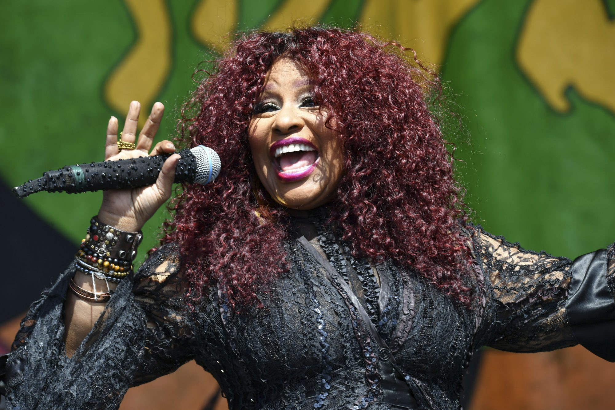 NEW ORLEANS, LOUISIANA - MAY 05: Chaka Khan performs onstage at the 2019 New Orleans Jazz & Heritage Festival at Fair Grounds Race Course on May 05, 2019 in New Orleans, Louisiana. (Photo by Jeff Kravitz/FilmMagic)