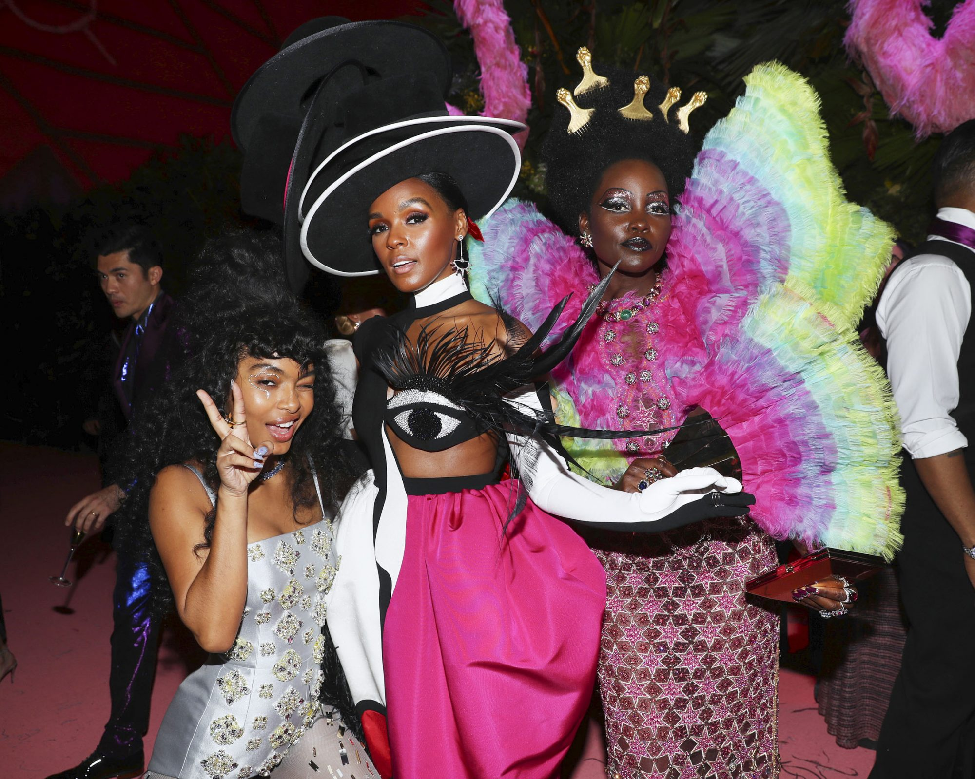 NEW YORK, NEW YORK - MAY 06: (L-R) Yara Shahidi, Janelle Monae, and Lupita Nyong'o attend The 2019 Met Gala Celebrating Camp: Notes on Fashion at Metropolitan Museum of Art on May 06, 2019 in New York City. (Photo by Kevin Tachman/MG19/Getty Images for The Met Museum/Vogue)