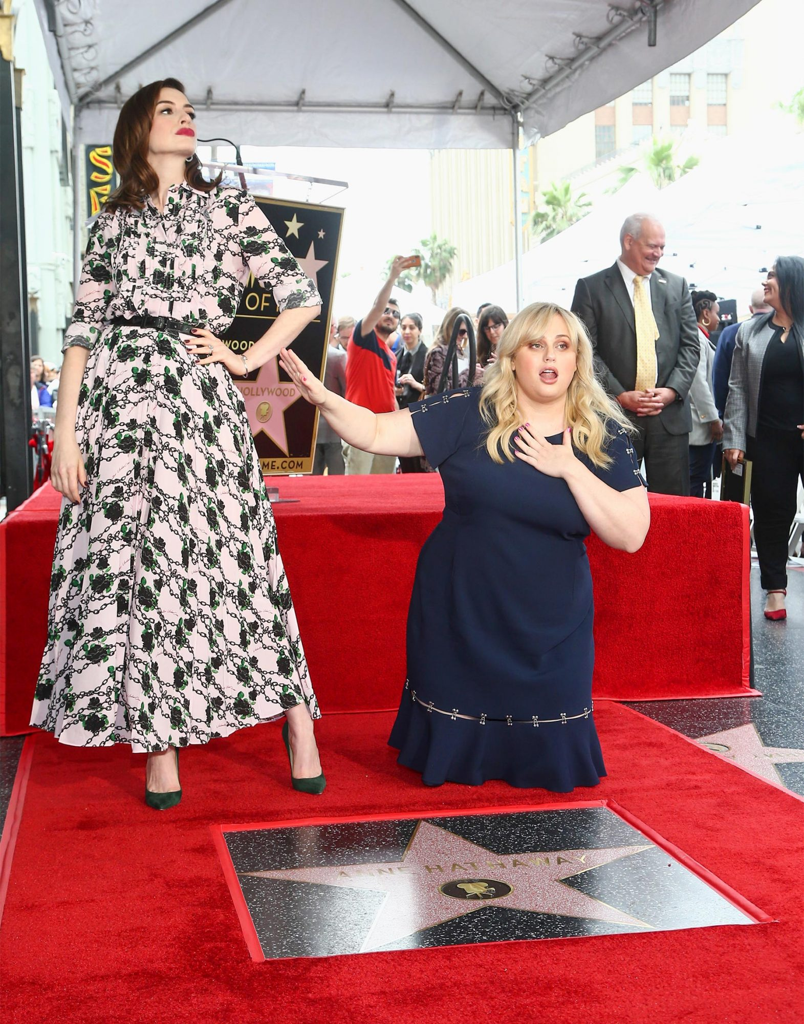 HOLLYWOOD, CALIFORNIA - MAY 09: Anne Hathaway and Rebel Wilson attend a Ceremony Honoring Anne Hathaway With Star On The Hollywood Walk Of Fame on May 09, 2019 in Hollywood, California. (Photo by Tommaso Boddi/WireImage)
