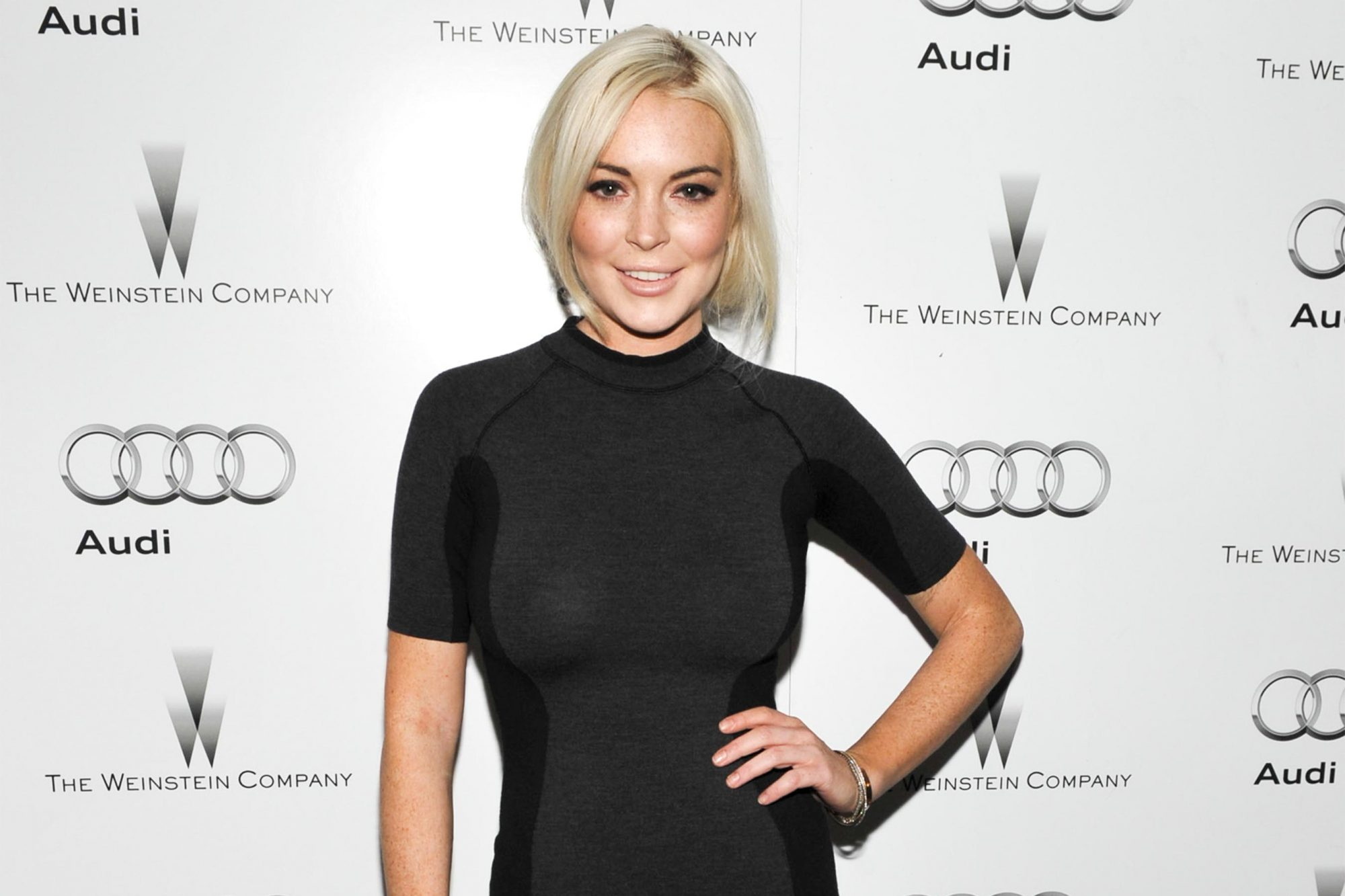 LOS ANGELES, CA - JANUARY 11: Actress Lindsay Lohan attends the party hosted by the Weinstein Company and Audi to Celebrate Awards Season at Chateau Marmont on January 11, 2012 in Los Angeles, California. (Photo by John Shearer/Getty Images for Audi)