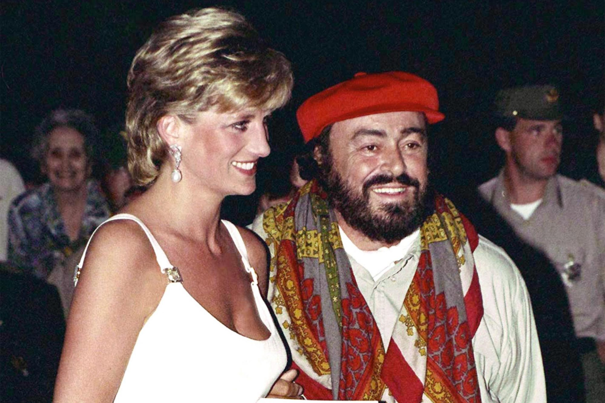 MODENA, ITALY - SEPTEMBER 12: Princess Of Wales Greeted By Pavarotti On Arrival At Concert To Raise Money For Bosnian Children. (Photo by Tim Graham/Getty Images)
