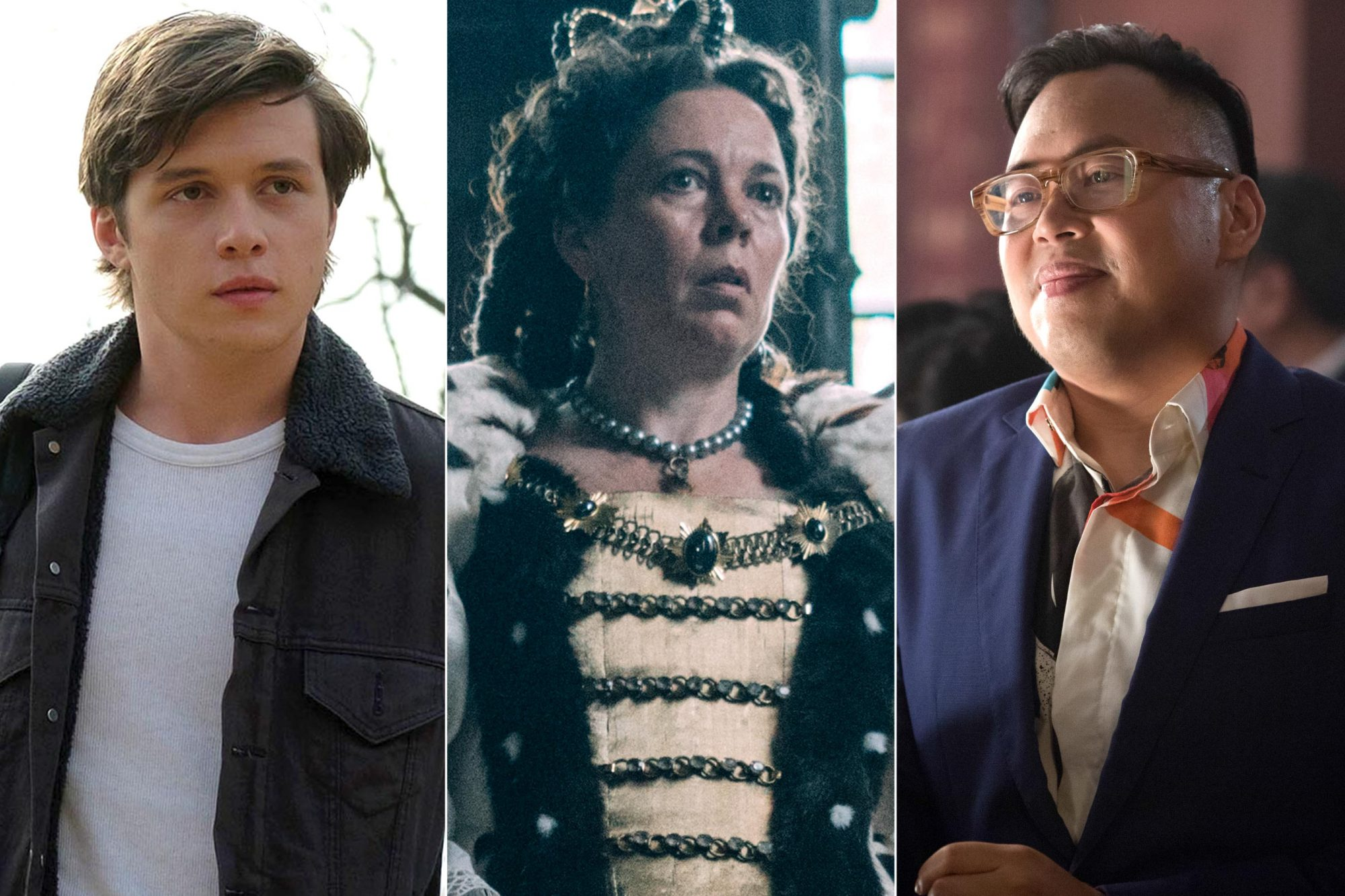 """Nick Robinson stars as Simon in Twentieth Century Fox's LOVE, SIMON. Photo Credit: Ben Rothstein. Olivia Colman in the film THE FAVOURITE. Photo by Atsushi Nishijima.© 2018 Twentieth Century Fox Film Corporation All Rights Reserved CR: Atsushi Nishijima/Fox Searchlight CRAZY RICH ASIANS NICO SANTOS as Oliver in Warner Bros. Pictures' and SK Global Entertainment's and Starlight Culture's contemporary romantic comedy """"CRAZY RICH ASIANS,"""" a Warner Bros. Pictures release. Photo Credit: Sanja Bucko/Warner Bros."""