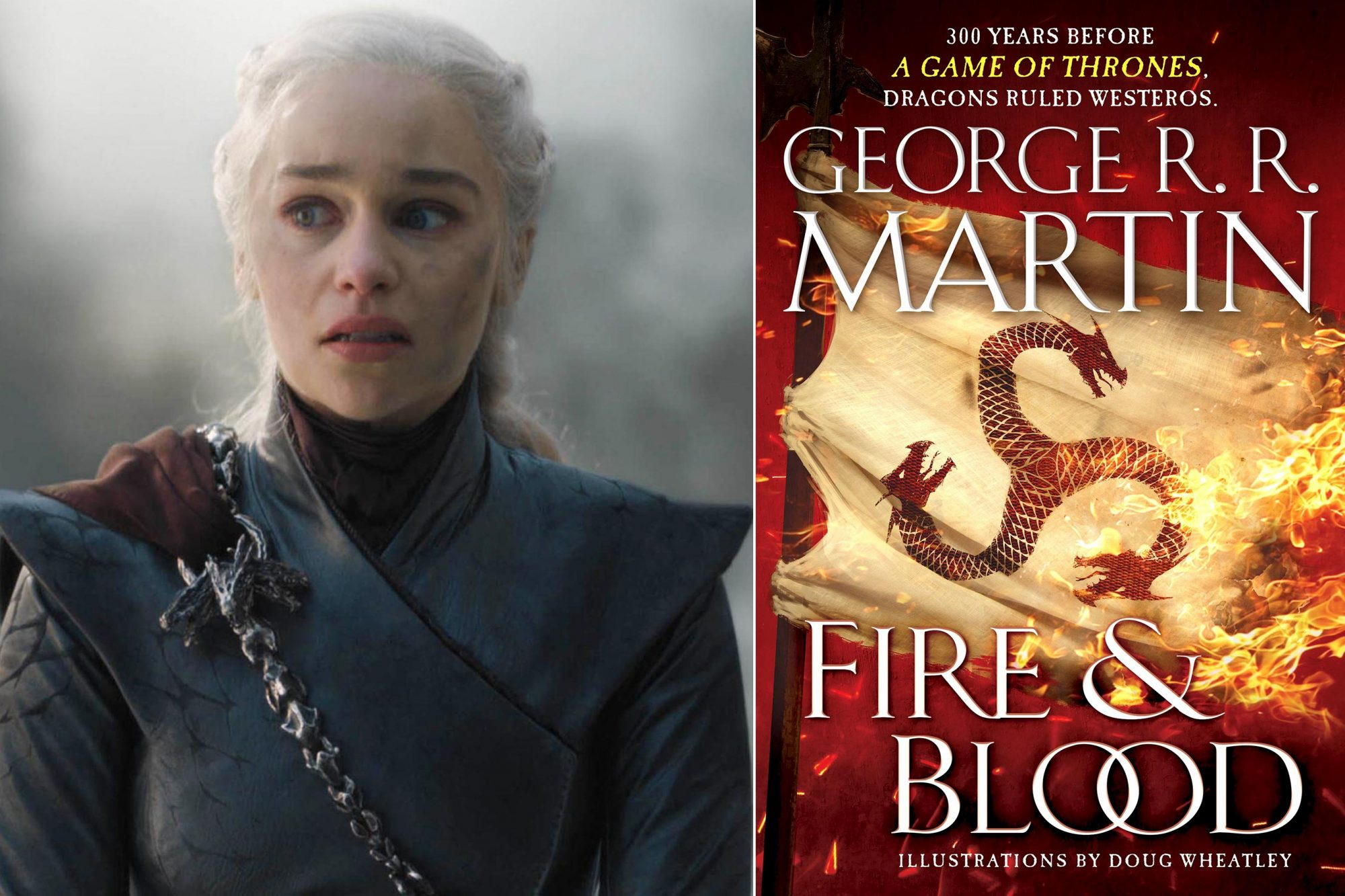 "Game of Thrones Season 8, Episode 5 ""The Bells"" Emilia Clarke as Daenerys Targaryen CR: HBO Fire & Blood Book by George R. R. Martin CR: Bantam"