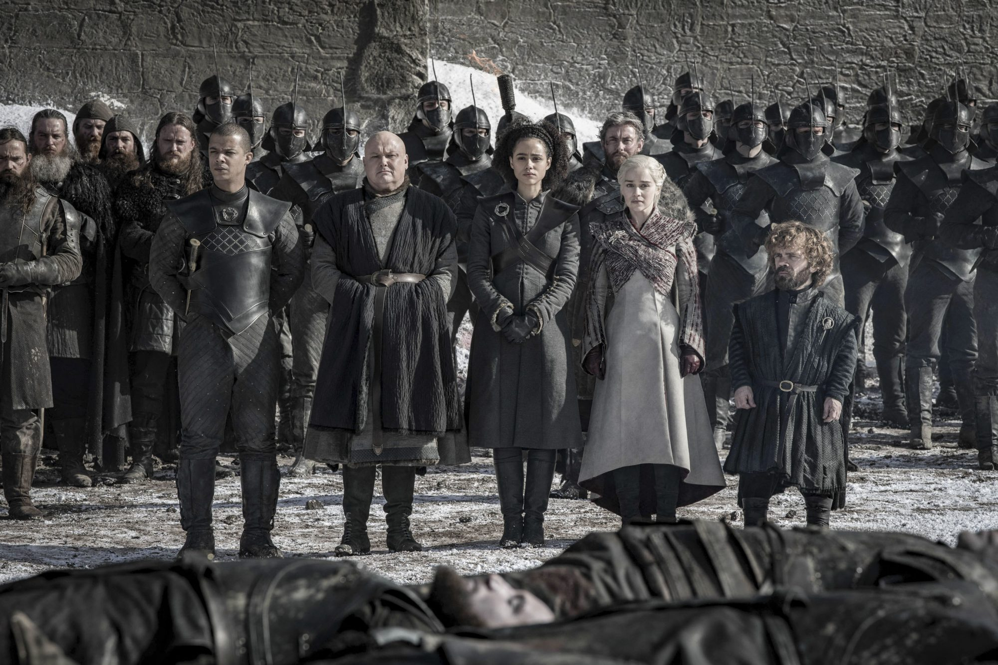 Game of Thrones Season 8, Episode 4 (L to R) Jacob Anderson as Grey Worm, Conleth Hill as Varys, Nathalie Emmanuel as Missandei, Emilia Clarke as Daenerys Targaryen, and Peter Dinklage as Tyrion Lannister - Photo: Helen Sloan/HBO