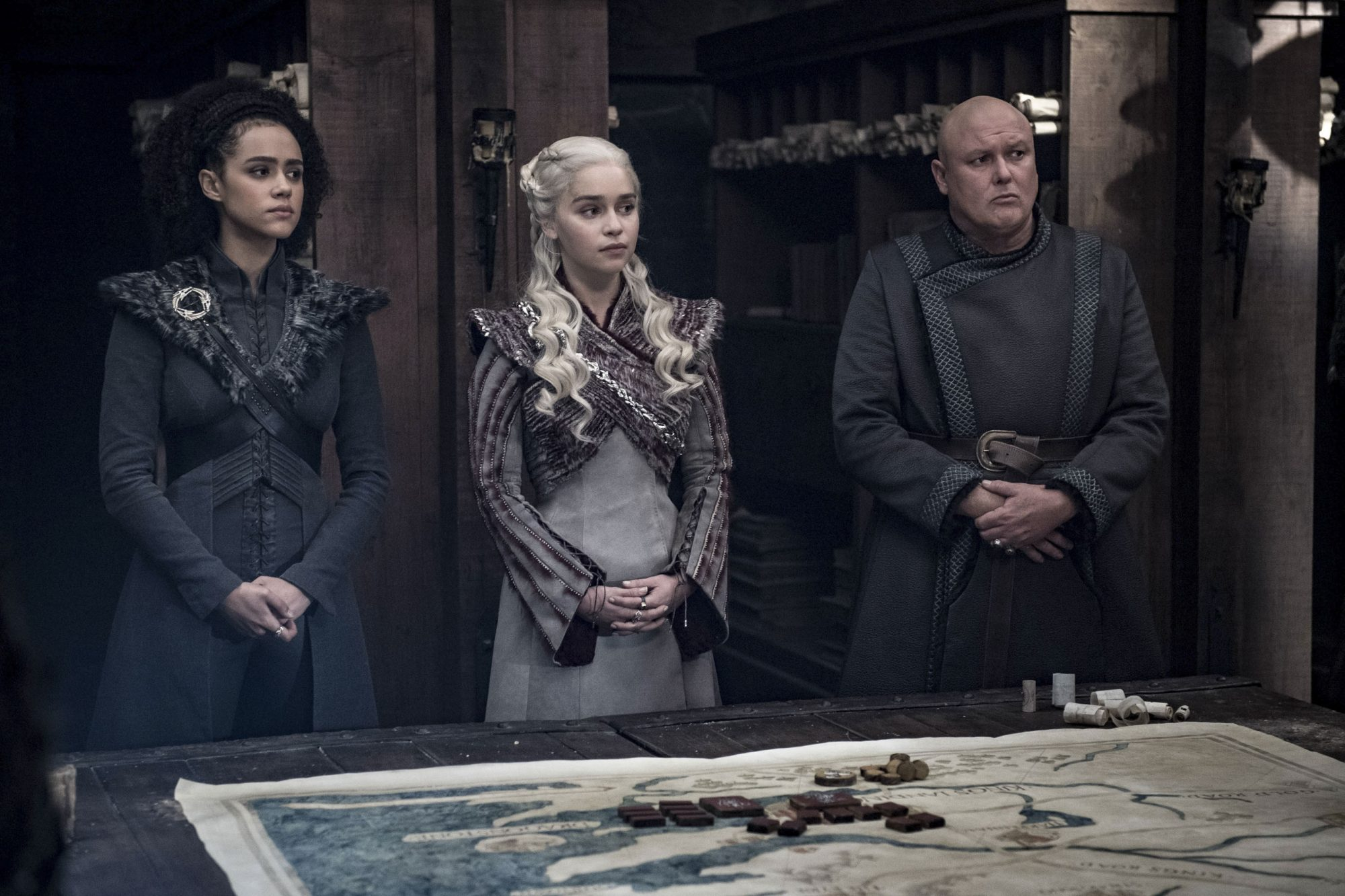 Game of Thrones Season 8, Episode 4 (L to R) Nathalie Emmanuel as Missandei, Emilia Clarke as Daenerys Targaryen, and Conleth Hill as Varys - Photo: Helen Sloan/HBO