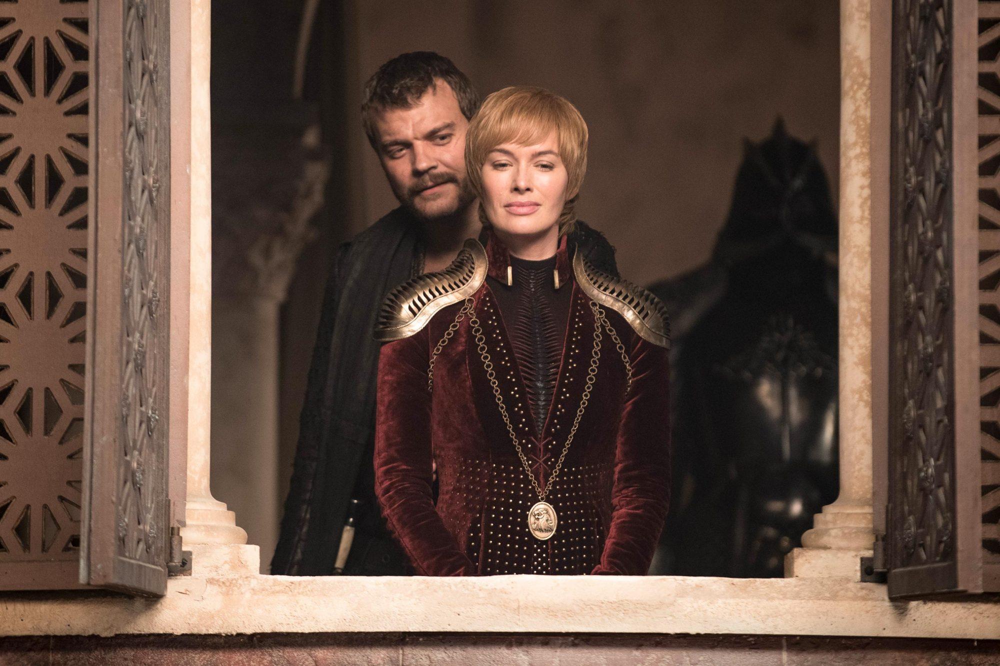 Game of Thrones Season 8, Episode 4 (L to R) Pilou Asbæk as Euron Greyjoy and Lena Headey as Cersei Lannister - Photo: Helen Sloan/HBO
