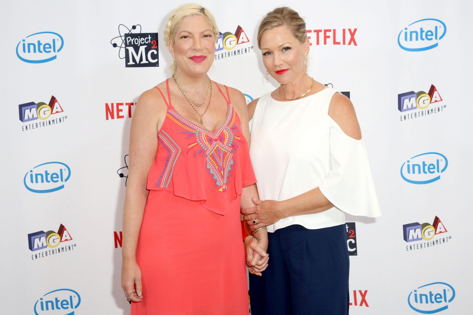 "WEST HOLLYWOOD, CA - SEPTEMBER 07: Actresses Tori Spelling and Jennie Garth attend the Netflix Series ""Project Mc2"" Part 5 Premiere hosted by Jennie Garth and MGA Entertainment at The London West Hollywood on September 7, 2017 in West Hollywood, California. (Photo by Rachel Murray/Getty Images for MGA Entertainment )"