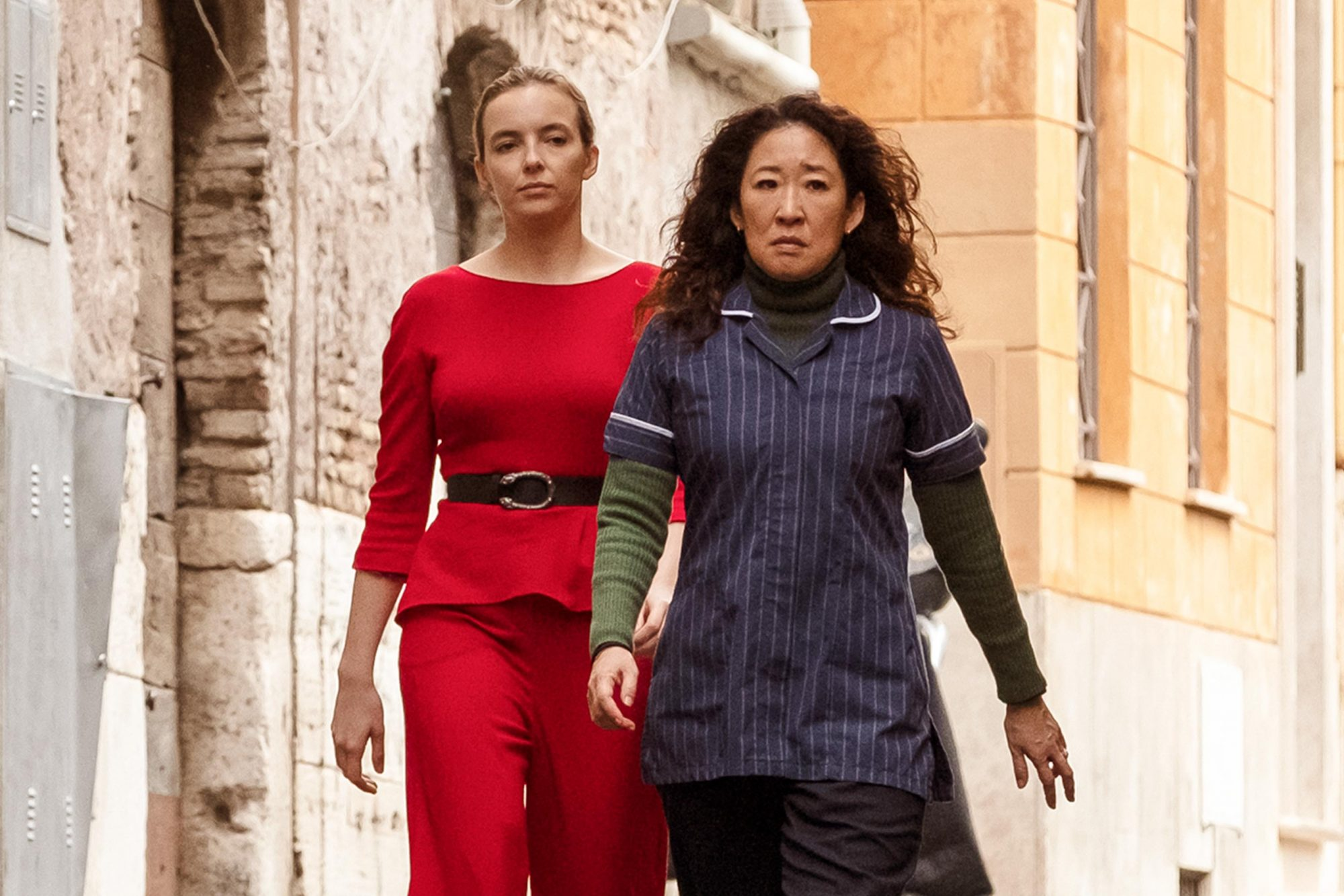 Jodie Comer as Villanelle, Sandra Oh as Eve Polastri - Killing Eve _ Season 2, Episode 8 - Photo Credit: Gareth Gatrell/BBCAmerica