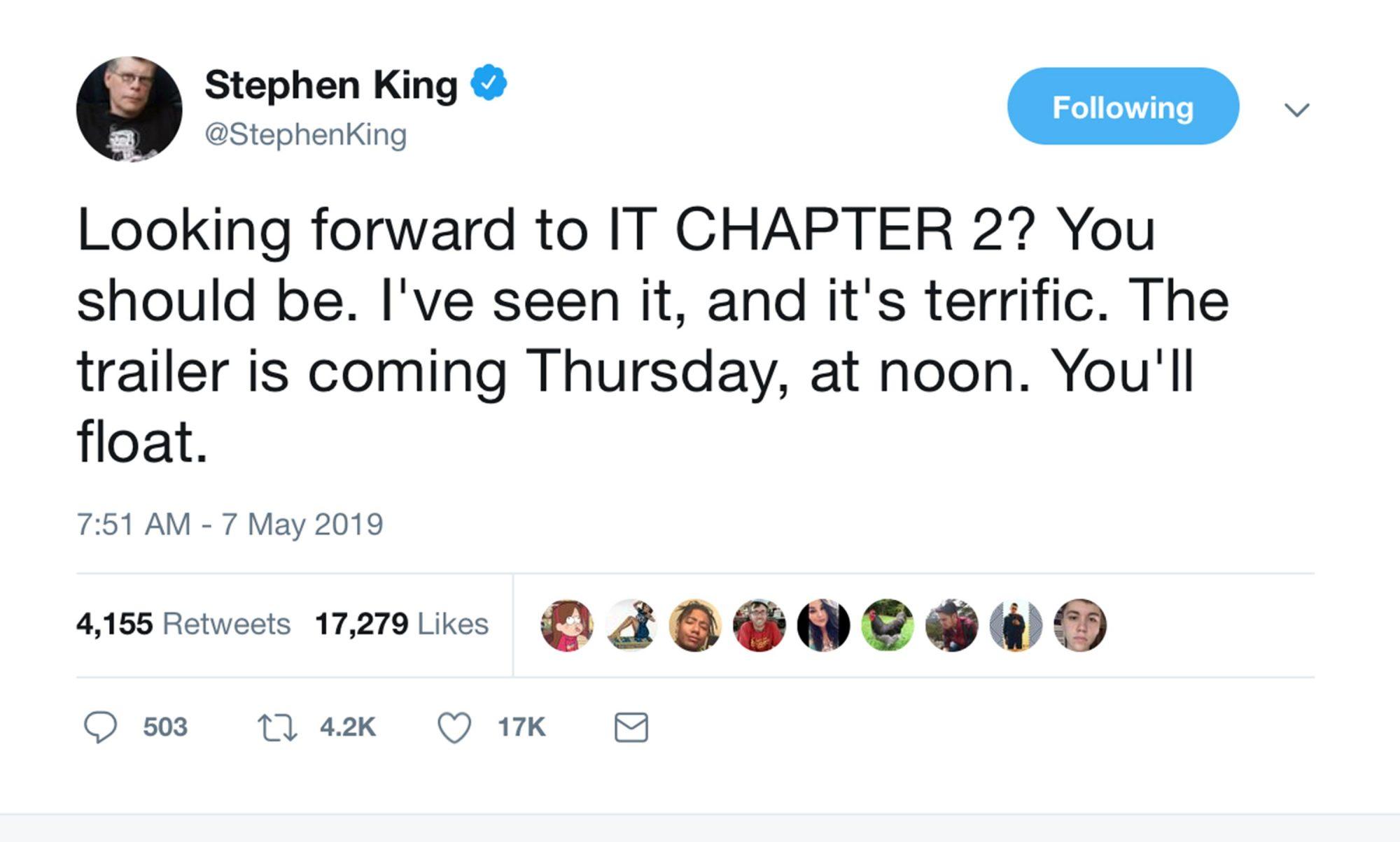 King confirms