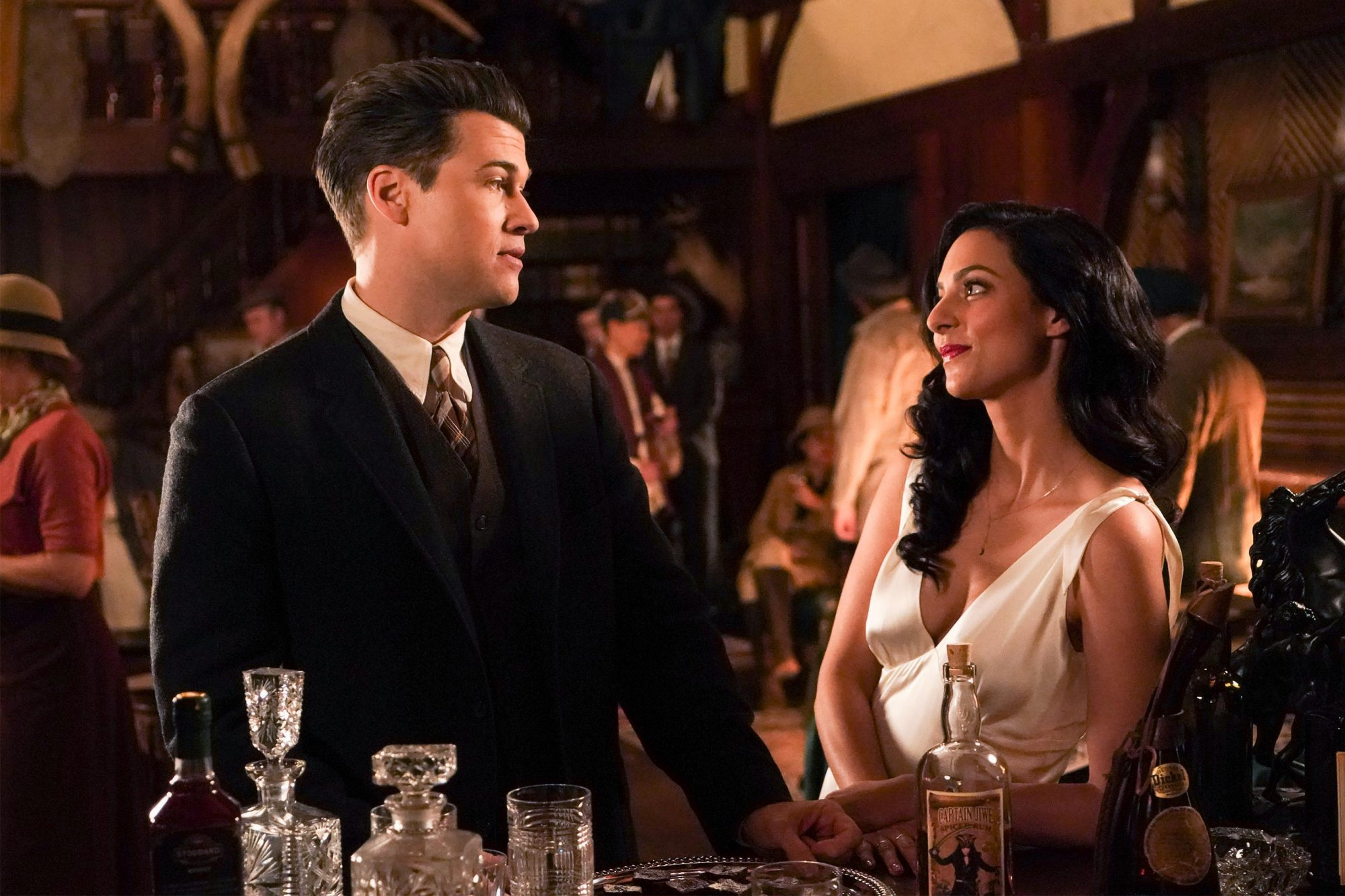 """DC's Legends of Tomorrow -- """"Egg MacGuffin"""" -- Image Number: LGN413b_0022b.jpg -- Pictured (L-R): Nick Zano as Nate Heywood/Steel and Tala Ashe as Zari -- Photo: Shane Harvey/The CW -- © 2019 The CW Network, LLC. All Rights Reserved."""