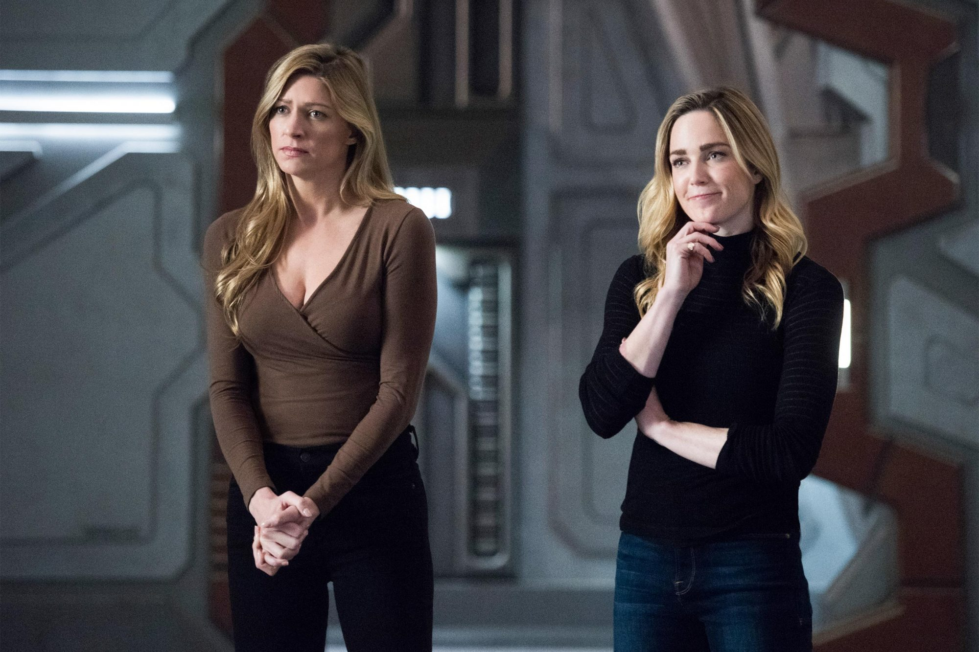 "DC's Legends of Tomorrow -- ""Terms of Service"" -- Image Number: LGN415b_0094b.jpg -- Pictured (L-R): Jes Macallan as Ava Sharpe and Sara Lance/White Canary -- Photo: Sergei Bachlakov/The CW -- © 2019 The CW Network, LLC. All Rights Reserved."