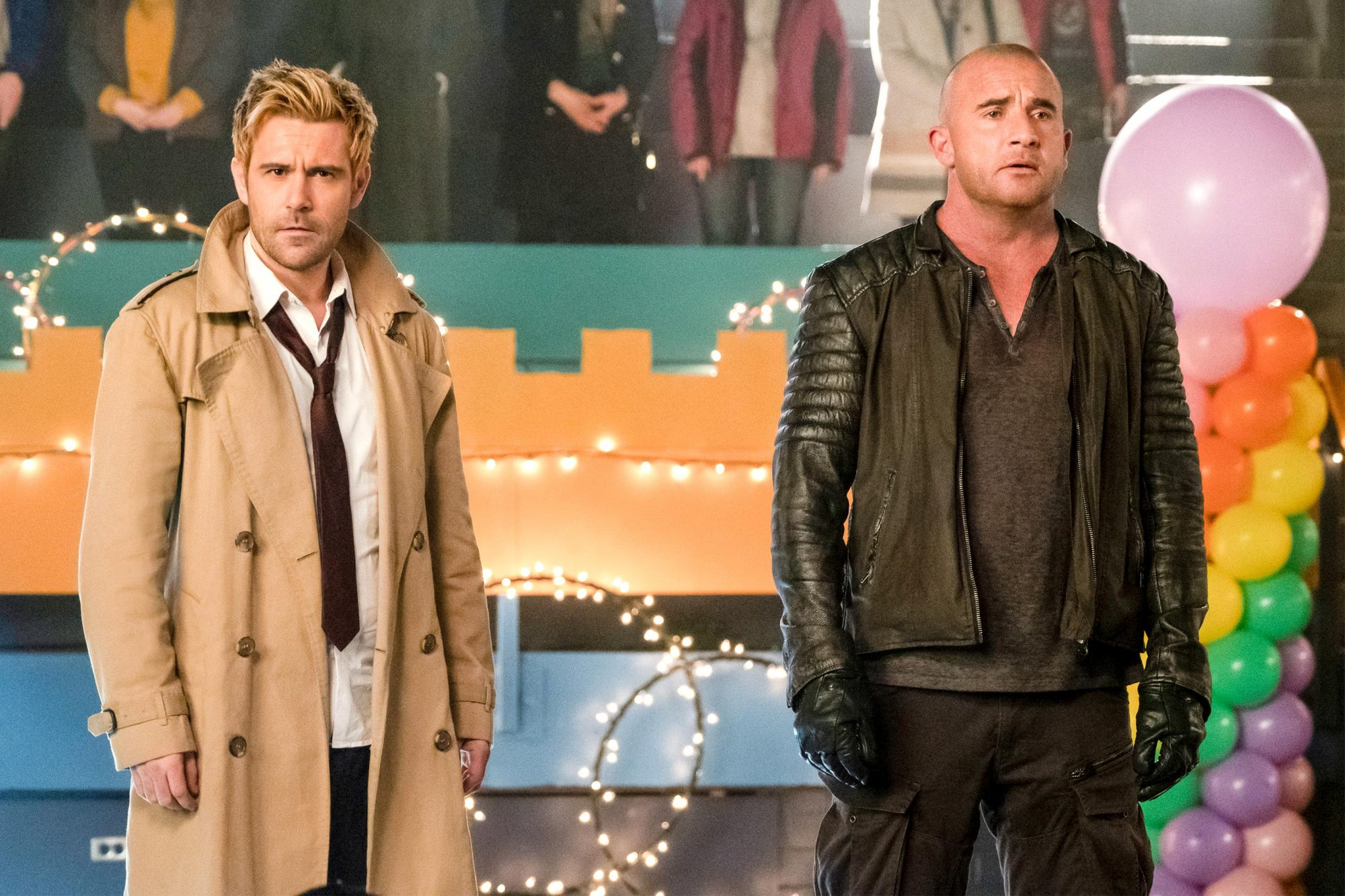 "DC's Legends of Tomorrow -- ""Hey World!"" -- Image Number: LGN416b_0194b.jpg -- Pictured (L-R): Matt Ryan as Constantine and Dominic Purcell as Mick Rory/Heatwave -- Photo: Katie Yu/The CW -- © 2019 The CW Network, LLC. All Rights Reserved."