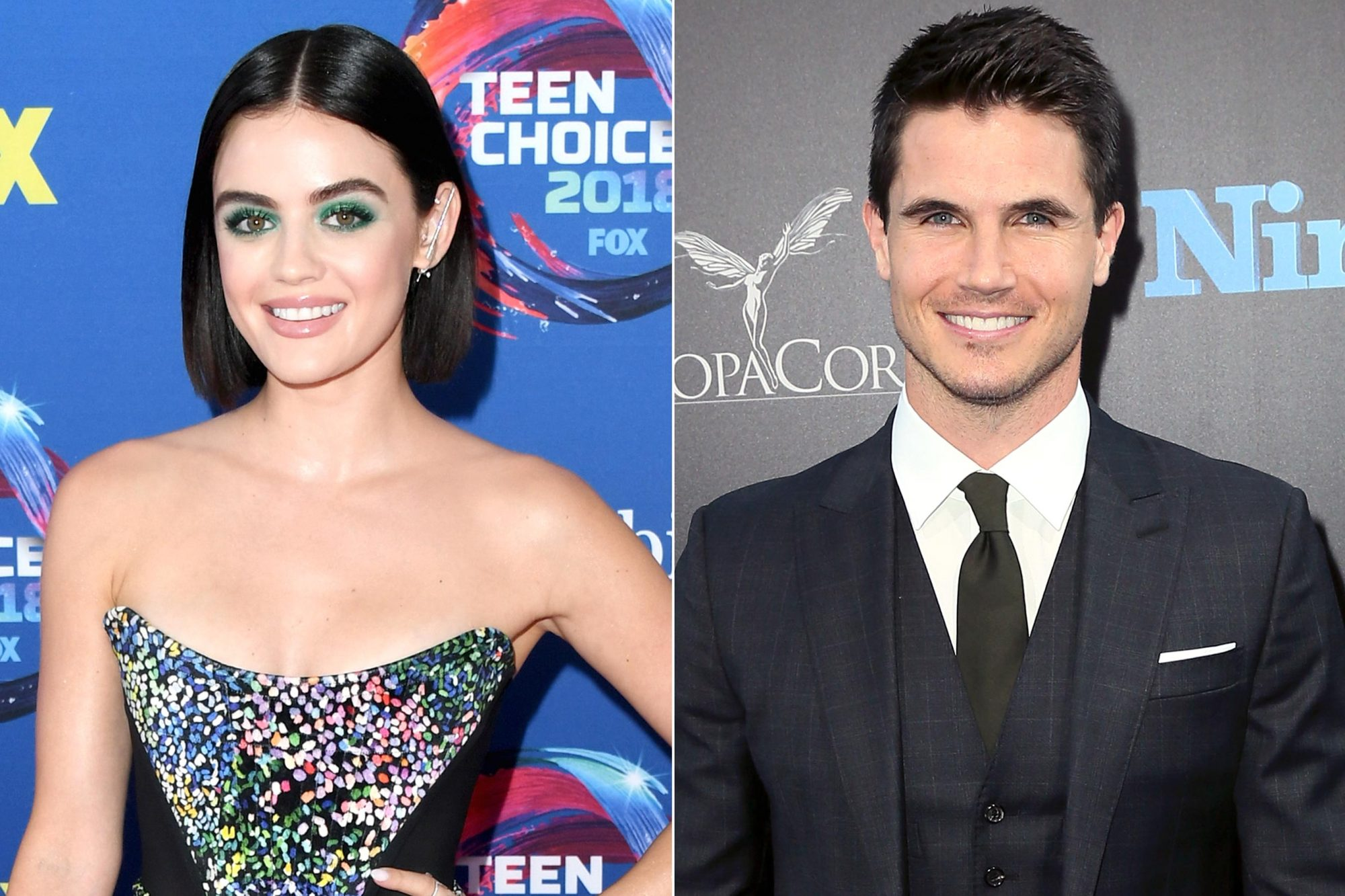 "INGLEWOOD, CA - AUGUST 12: Lucy Hale attends FOX's Teen Choice Awards at The Forum on August 12, 2018 in Inglewood, California. (Photo by Jon Kopaloff/FilmMagic) HOLLYWOOD, CA - AUGUST 01: Actor Robbie Amell attends the premiere of EuropaCorp's ""Nine Lives"" at the TCL Chinese Theatre on August 1, 2016 in Hollywood, California. (Photo by David Livingston/Getty Images)"