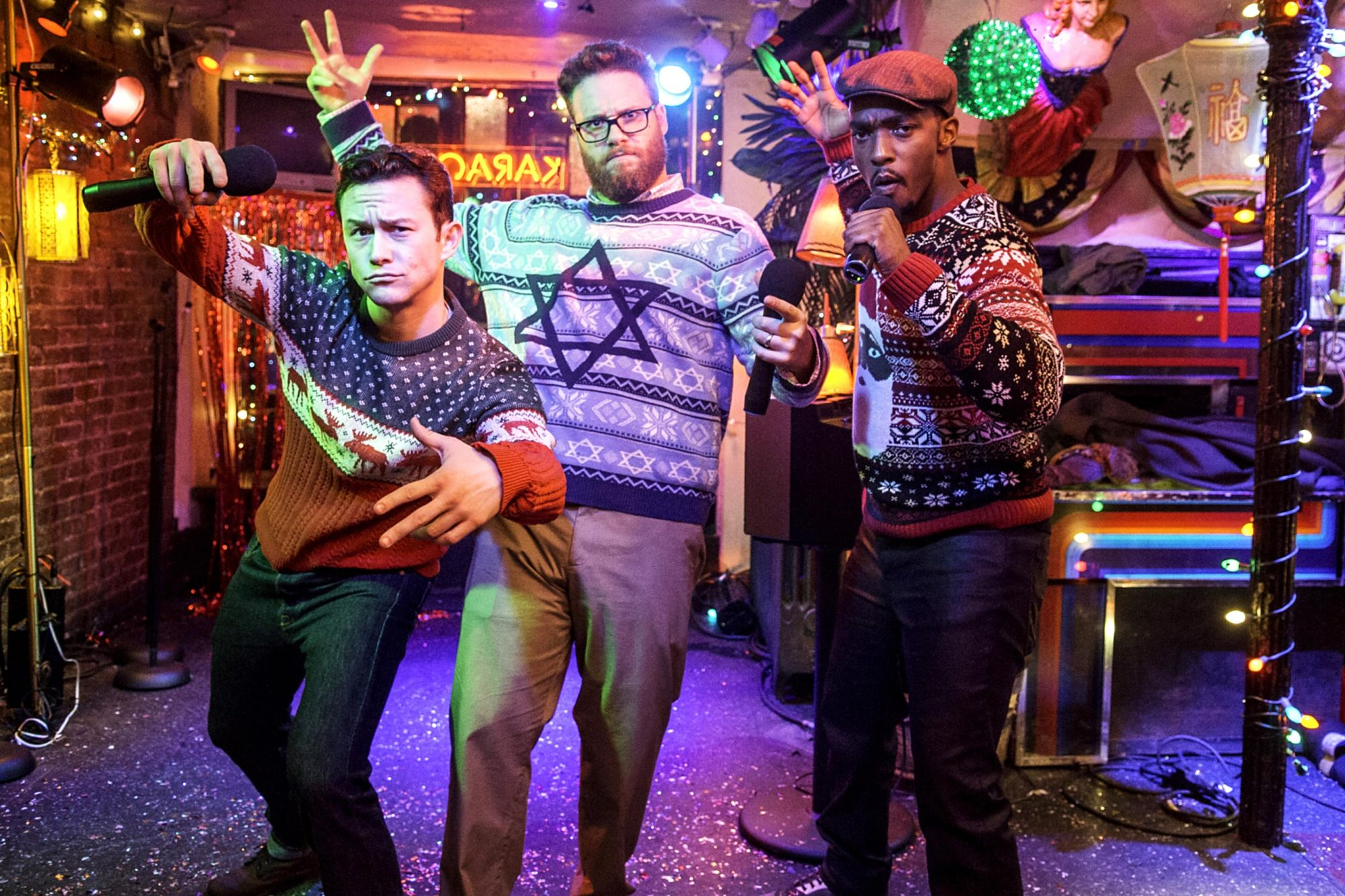THE NIGHT BEFORE, from left: Joseph Gordon-Levitt, Seth Rogen, Anthony Mackie, 2015. ph: Sarah