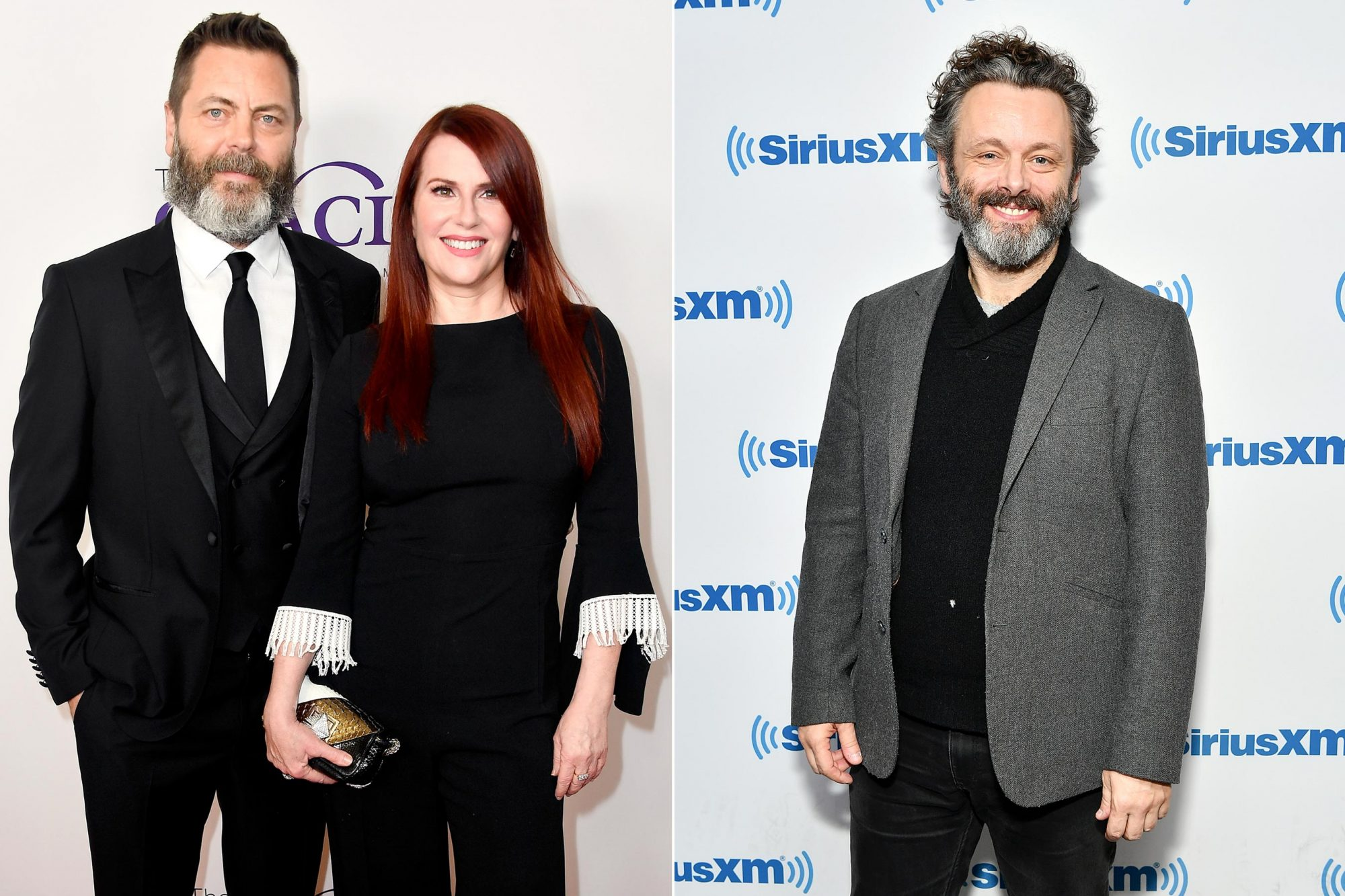BEVERLY HILLS, CA - MAY 22: Nick Offerman (L) and Megan Mullally attend the 43rd Annual Gracie Awards at the Beverly Wilshire Four Seasons Hotel on May 22, 2018 in Beverly Hills, California. (Photo by Frazer Harrison/Getty Images) NEW YORK, NY - OCTOBER 09: (EXCLUSIVE COVERAGE) Actor Michael Sheen visits SiriusXM Studios on October 9, 2018 in New York City. (Photo by Slaven Vlasic/Getty Images)