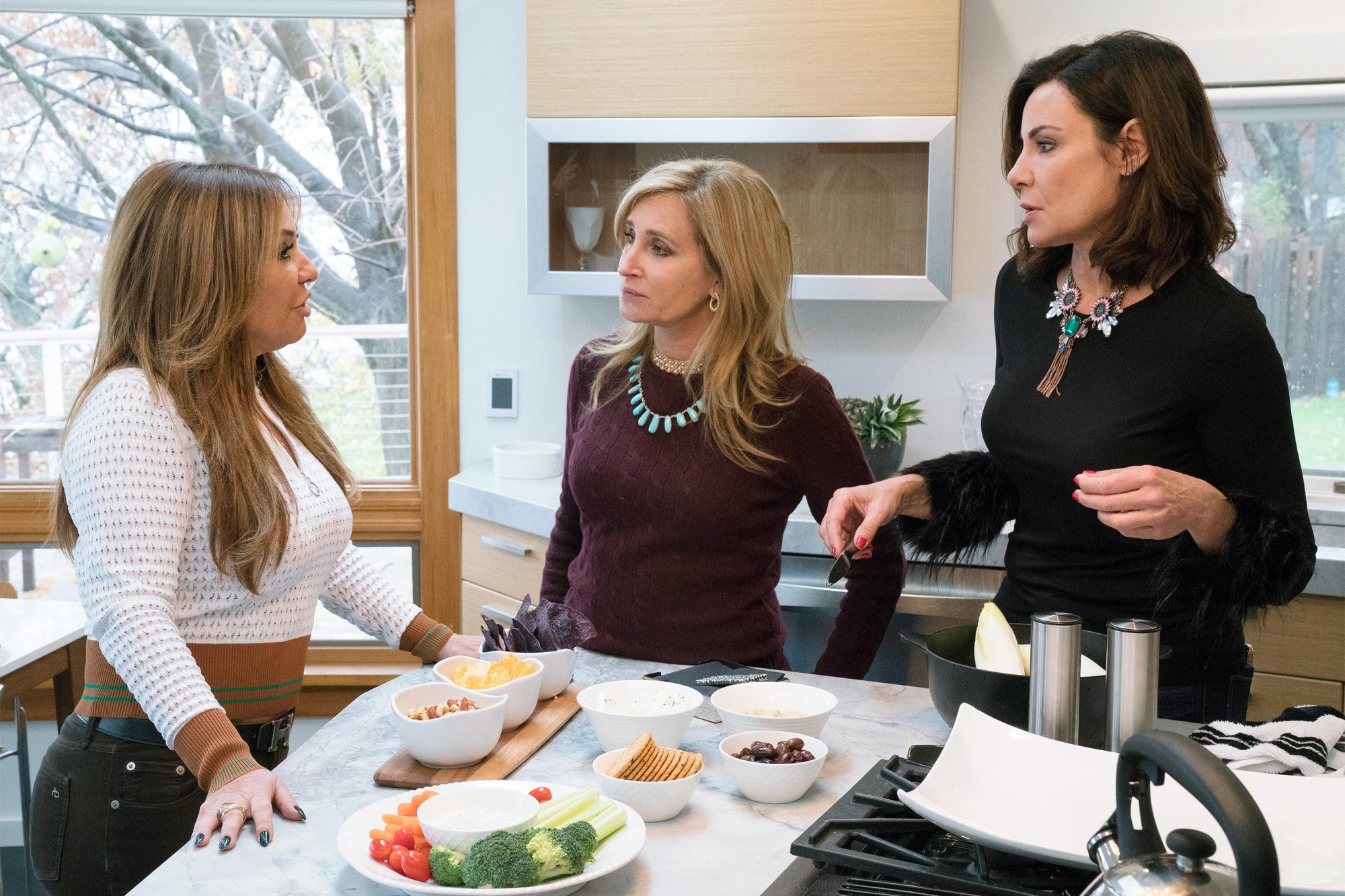"THE REAL HOUSEWIVES OF NEW YORK CITY -- ""Upstate Girls"" Episode 1111 -- Pictured: (l-r) Barbara Kavovit, Sonja Morgan, Luann de Lesseps -- (Photo by: Heidi Gutman/Bravo)"