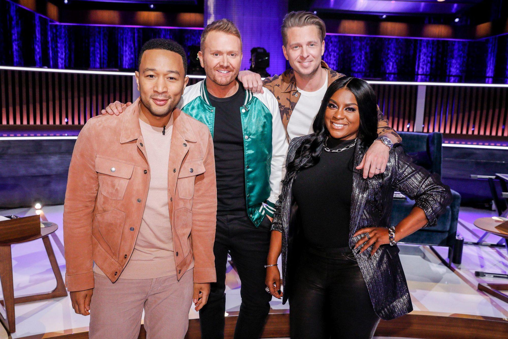 SONGLAND -- Episode X -- Pictured: (l-r) John Legend, Shane McAnally, Ryan Tedder, Ester Dean -- (Photo by: Trae Patton/NBC)