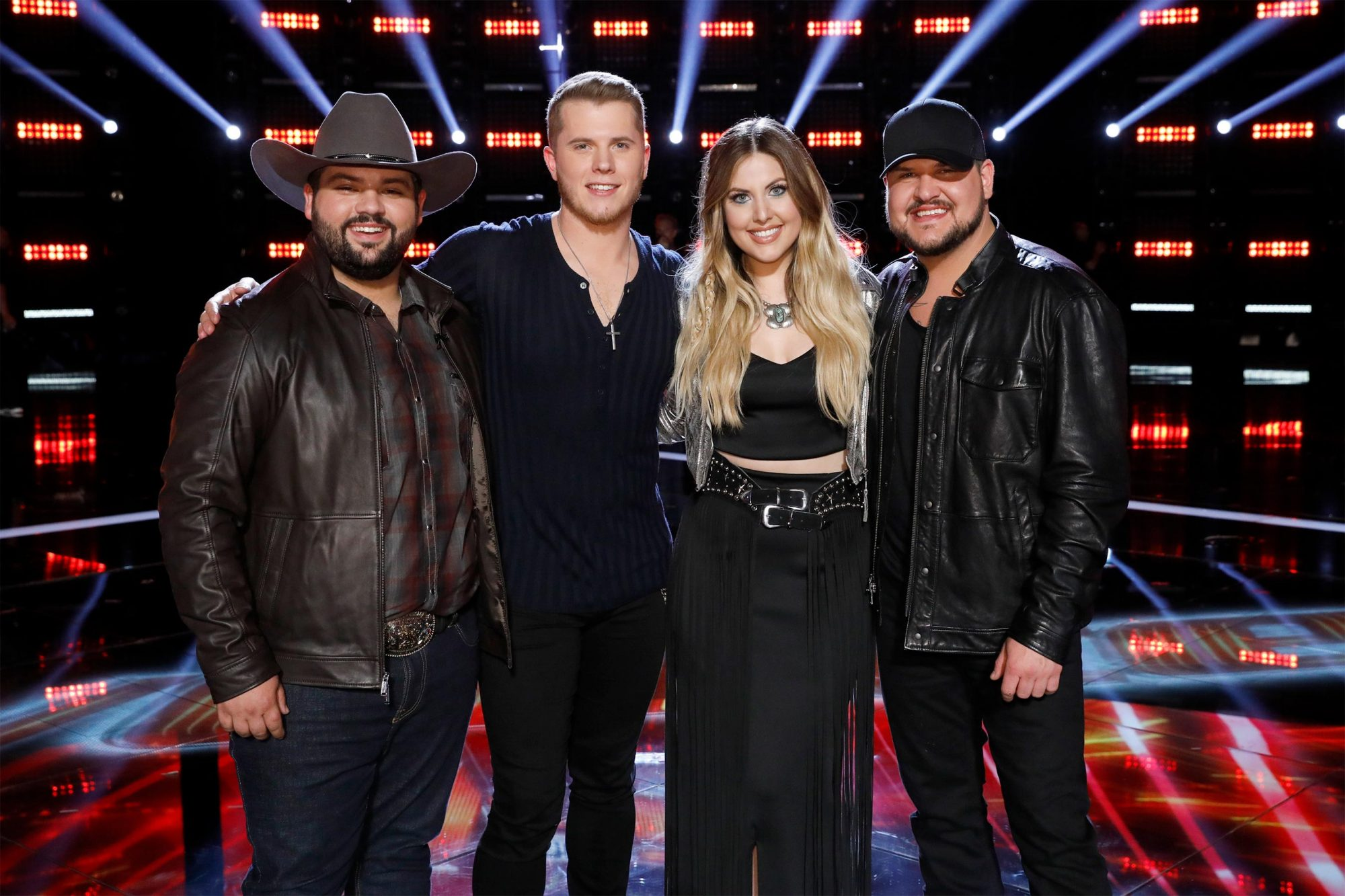 "THE VOICE -- ""Live Top 8 Results"" Episode 1615B -- Pictured: (l-r) Andrew Sevener, Gyth Rigdon, Maelyn Jarmon, Dexter Roberts -- (Photo by: Trae Patton/NBC)"