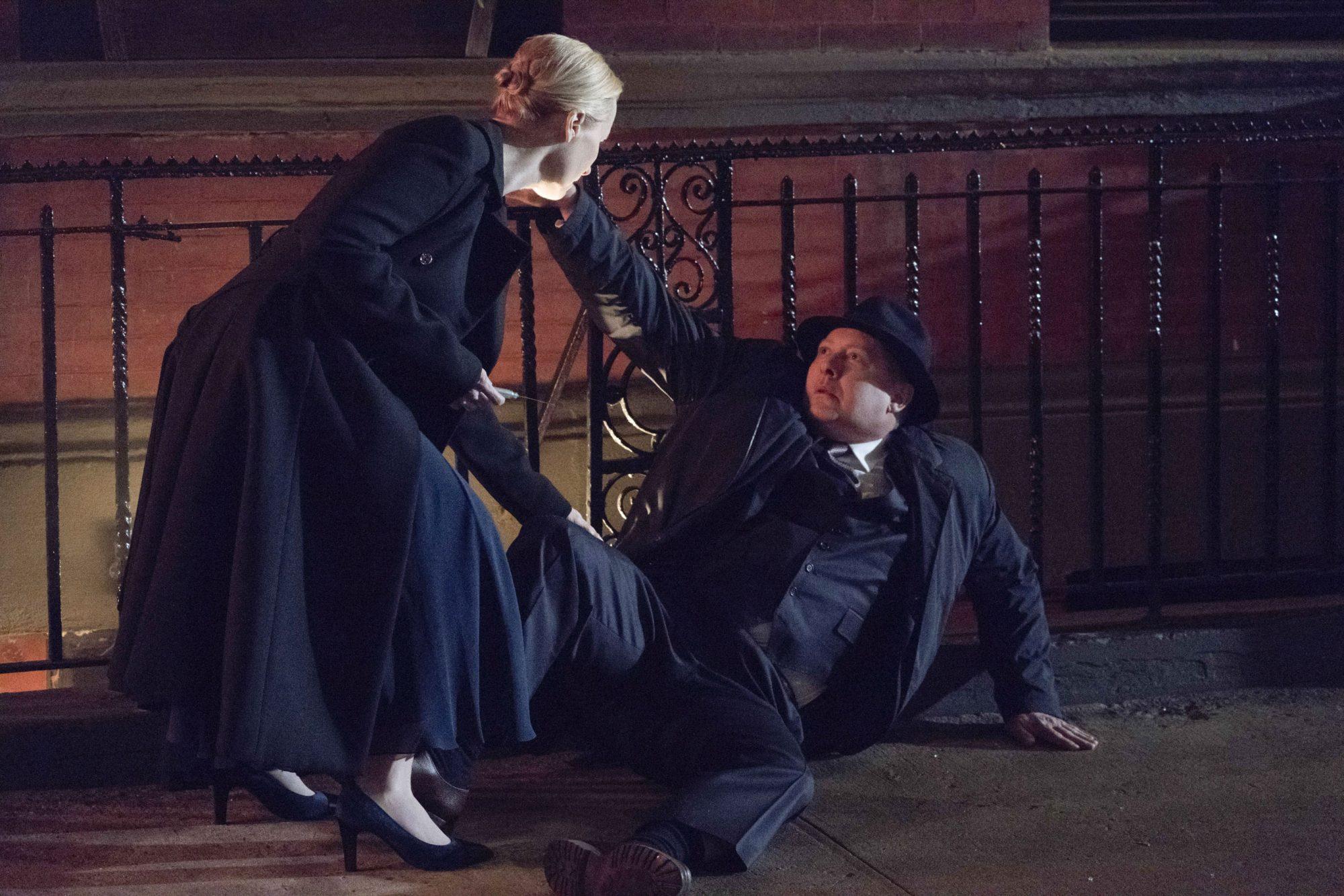 "THE BLACKLIST -- ""Robert Diaz (#15)"" Episode 622 -- Pictured: (l-r) Laila Robins as Katarina Rostova, James Spader as Raymond ""Red"" Reddington -- (Photo by: Virginia Sherwood/NBC)"