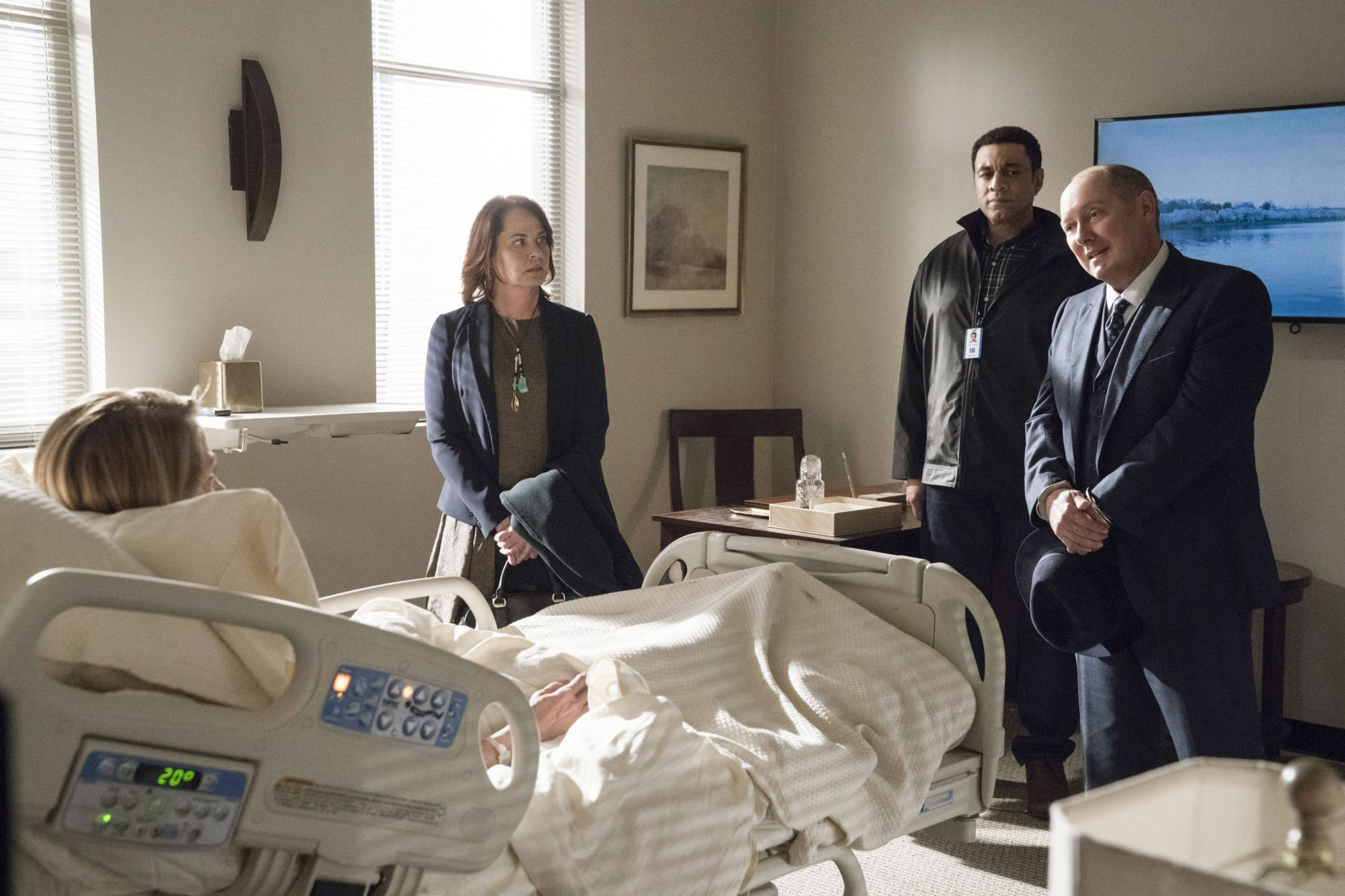 "THE BLACKLIST -- ""Robert Diaz (#15)"" Episode 622 -- Pictured: (l-r) Regina Schneider as First Lady Miriam Diaz, Deirdre Lovejoy as Cynthia Panabaker, Harry Lennix as Harold Cooper, James Spader as Raymond ""Red"" Reddington -- (Photo by: Virginia Sherwood/NBC)"