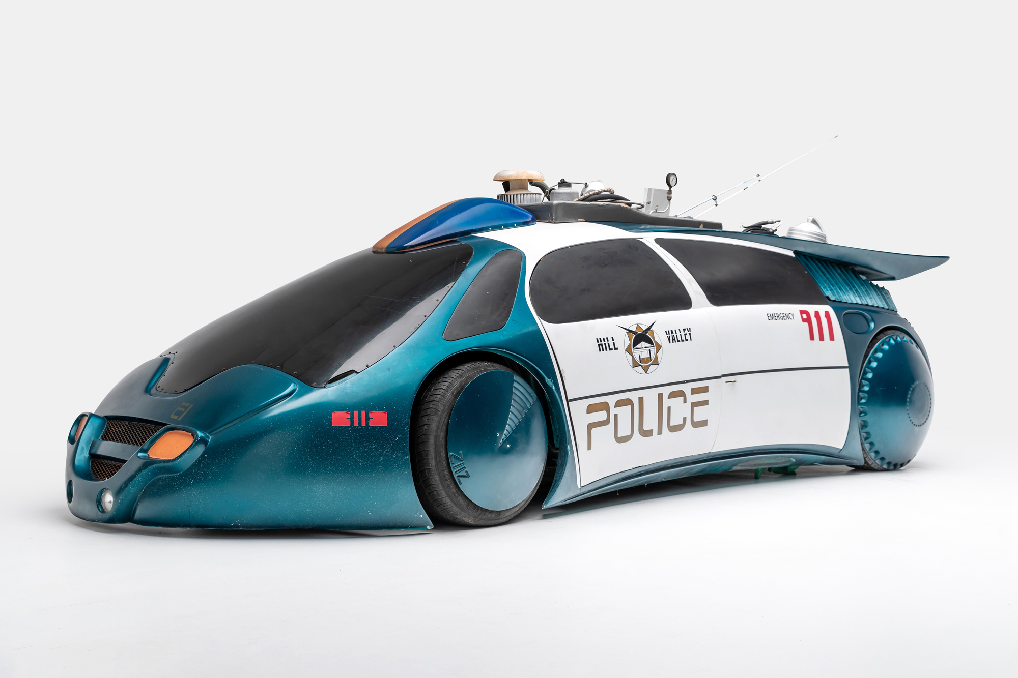 Police Car (BTTF 2)sci-fi movie and TV cars on display at LA's Petersen Museum