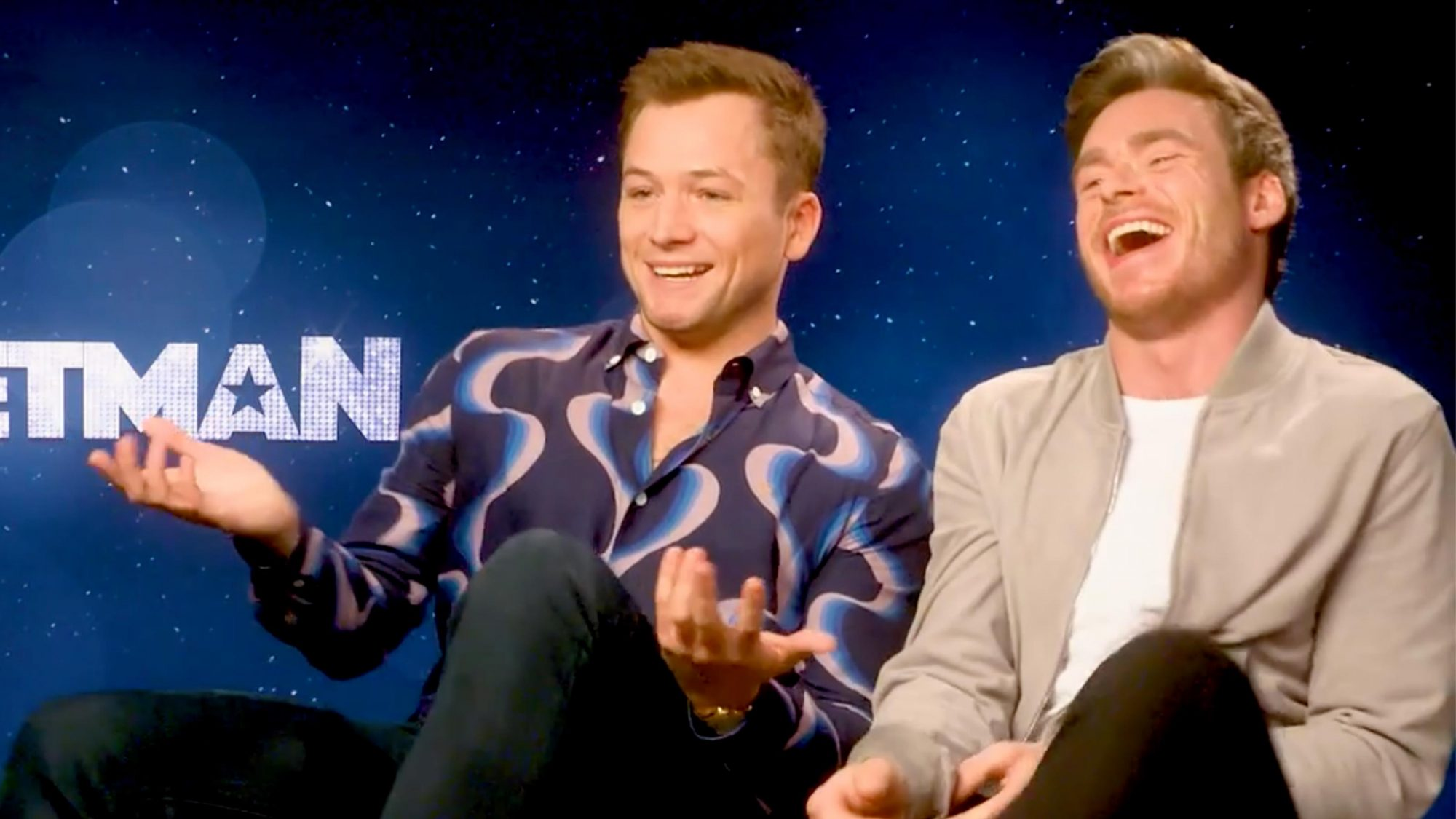 Rocketman EW Interview (screen grab) Taron Egerton and Richard Madden CR: EW