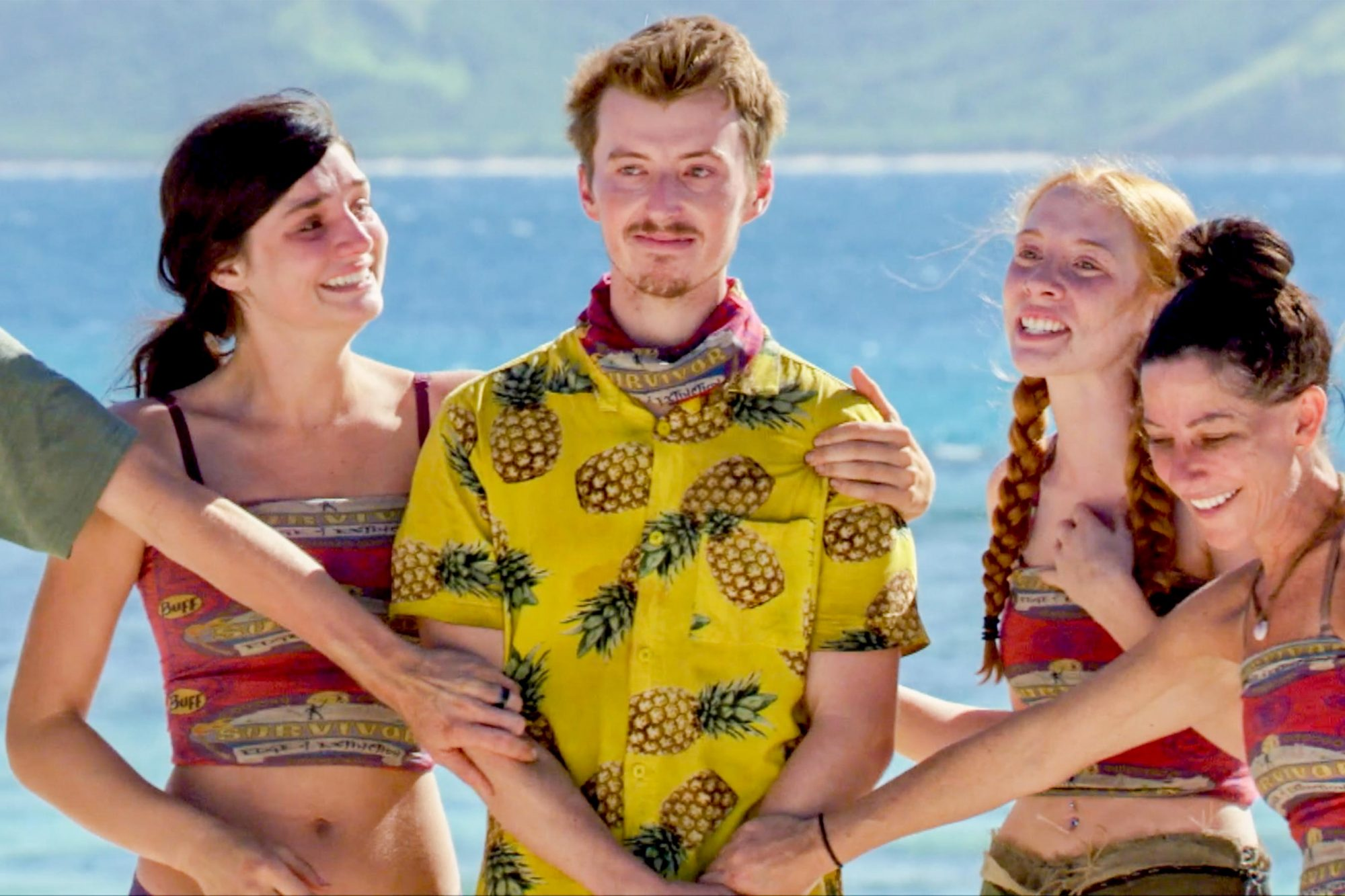 """Awkward"" - Ron Clark, Lauren O'Connell, Gavin Whitson, Victoria Baamonde and Julie Rosenberg on the twelfth episode of SURVIVOR: Edge of Extinction airing, Wednesday, May 1st (8:00-9:00 PM, ET/PT) on the CBS Television Network. Photo: Screen Grab/CBS Entertainment ©2019 CBS Broadcasting, Inc. All Rights Reserved."