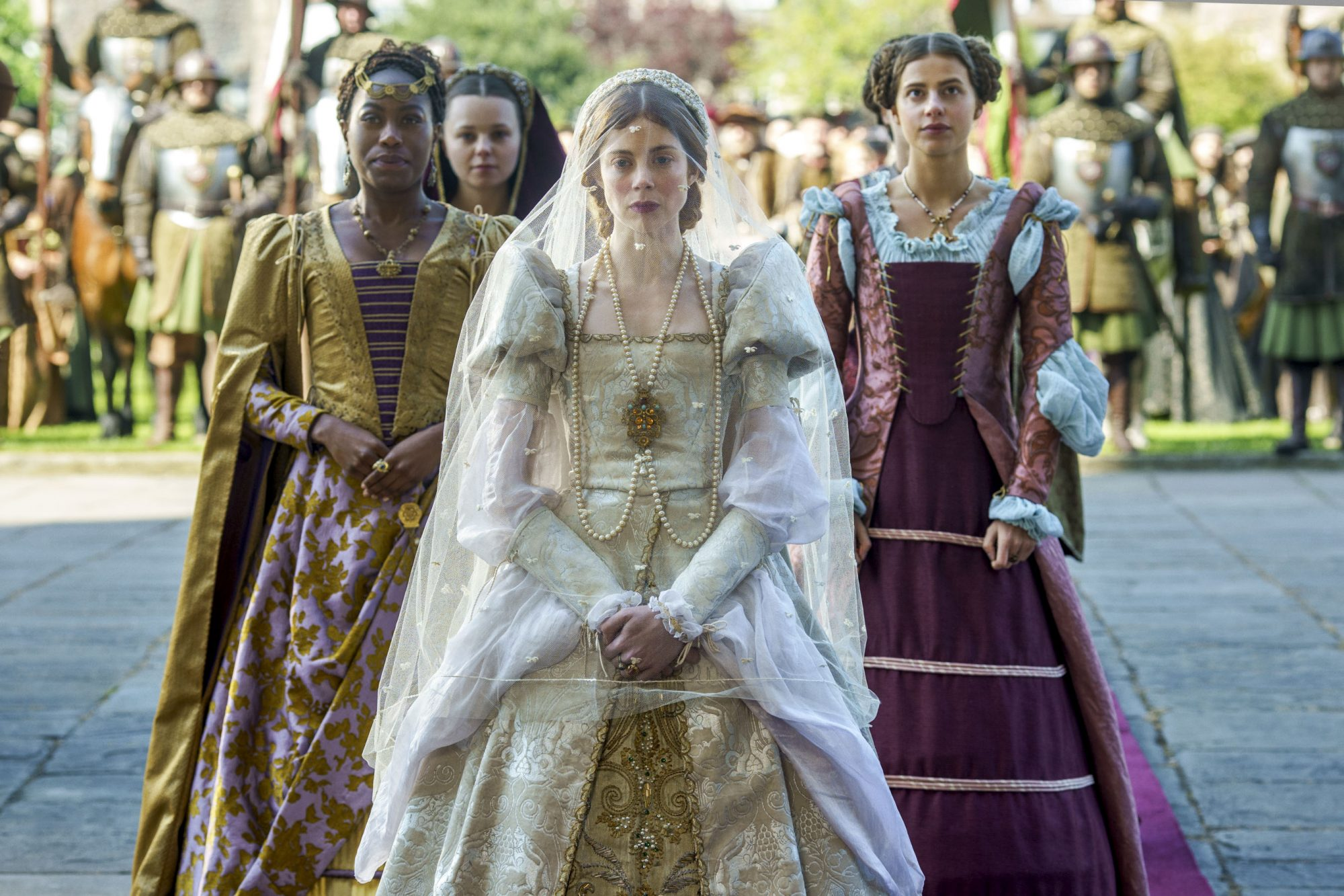 The Spanish Princess Stephanie Levi-John (Lina), Charlotte Hope (Princess Catherine), Nadia Parkes (Rosa) CR: Nick Briggs/Starz