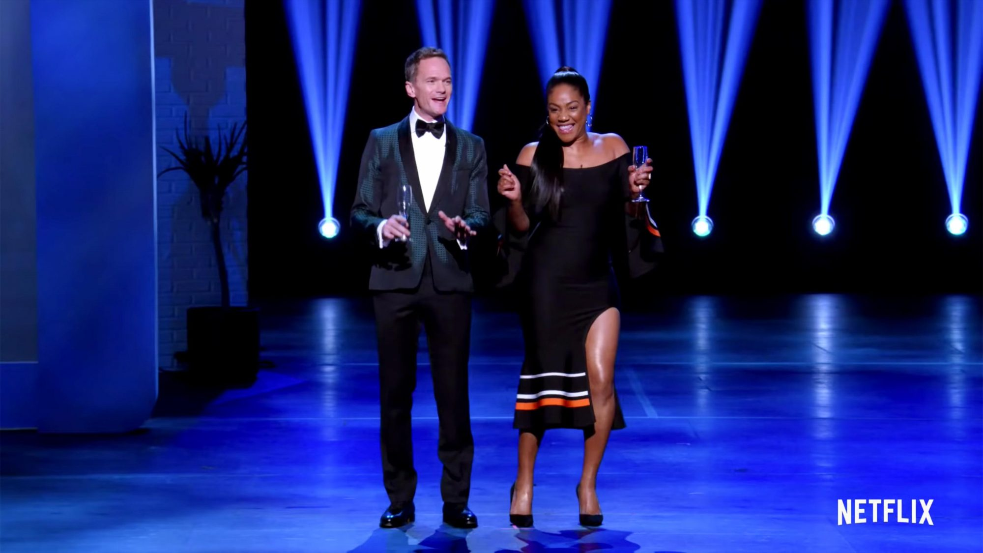 Still LAUGH-IN: The Stars Celebrate | Trailer | Netflix Comedy Special (screen grab) Neil Patrick Harris, Tiffany Haddish https://www.youtube.com/watch?v=W8rChpLYf_Q CR: Netflix