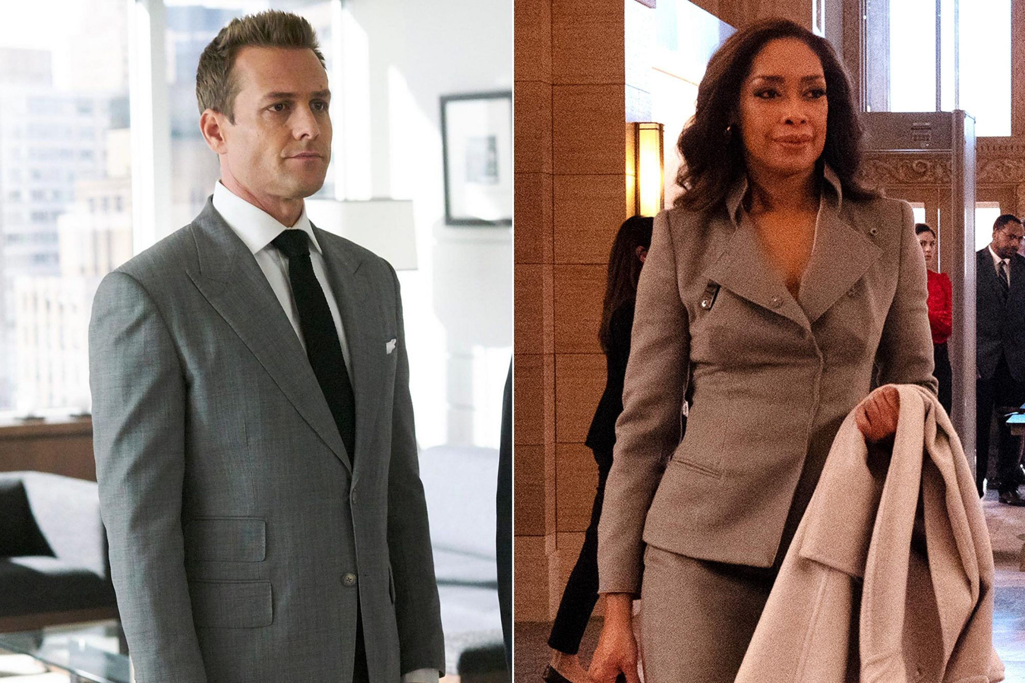 "SUITS -- ""Right-Hand Man"" Episode 801 -- Pictured: (l-r) Gabriel Macht as Harvey Specter, Dule Hill as Alex -- (Photo by: Ian Watson/USA Network) PEARSON -- Pictured: Gina Torres as Jessica Pearson -- (Photo by: Isabella Vosmikova/USA Network)"