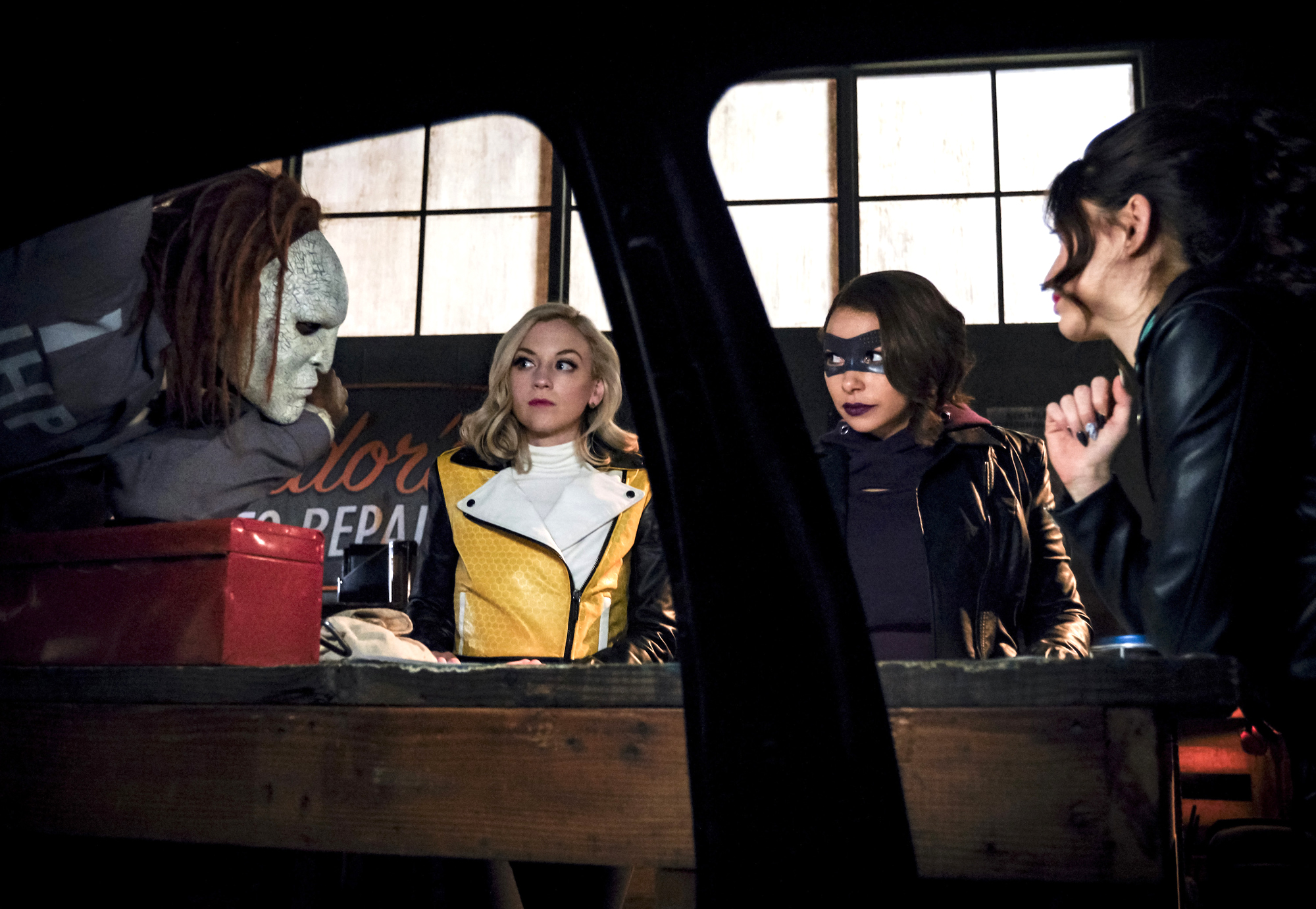 "The Flash -- ""Gone Rogue"" -- Image Number: FLA520a_0363b.jpg -- Pictured (L-R): Rag Doll, Emily Kinney as Brie Larvan, Jessica Parker Kennedy as Nora and Reina Hardesty as Joss/Weather Witch -- Photo: Jeff Weddell/The CW -- 脙聜脗漏 2019 The CW Network, LLC. All rights reserved"