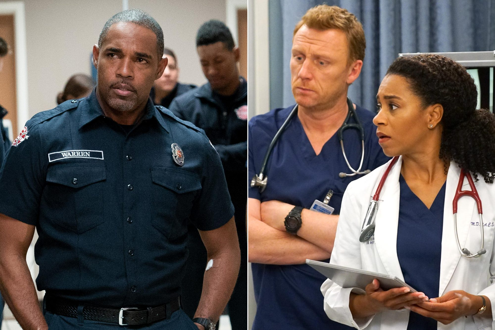 "STATION 19 - Worlds will collide in Seattle once again, as ABC is set to air a TGIT crossover event on Thursday, May 2, featuring all-new episodes of ""Grey's Anatomy"" and ""Station 19"" from 8:00-10:00 p.m. EDT. The second hour of the TGIT crossover event is an all-new episode of ""Station 19,"" entitled ""Always Ready."" Following a deadly blaze inside a coffee beanery, the members of Station 19 find themselves on high alert as a beloved member of their team lands at Grey Sloan, leaving the future uncertain in the face of a life-threatening situation, on ""Station 19,"" THURSDAY, MAY 2 (9:01-10:00 p.m. EDT), on The ABC Television Network. (ABC/Eric McCandless) JASON GEORGE GREY'S ANATOMY - Worlds will collide in Seattle once again, as ABC is set to air a TGIT crossover event on Thursday, May 2, featuring all-new episodes of ""Grey's Anatomy"" and ""Station 19"" from 8:00-10:00 p.m. EDT. The TGIT crossover event kicks off with an all-new episode of ""Grey's Anatomy,"" entitled ""What I Did for Love,"" where Maggie treats one of Station 19's own, and Jo learns a hard lesson. Meanwhile, when working with a family seeking asylum, Meredith makes a call that could jeopardize her career on ""Grey's Anatomy,"" THURSDAY, MAY 2 (8:00-9:01 p.m. EDT), on The ABC Television Network. (ABC/Scott Everett White) KEVIN MCKIDD, KELLY MCCREARY"