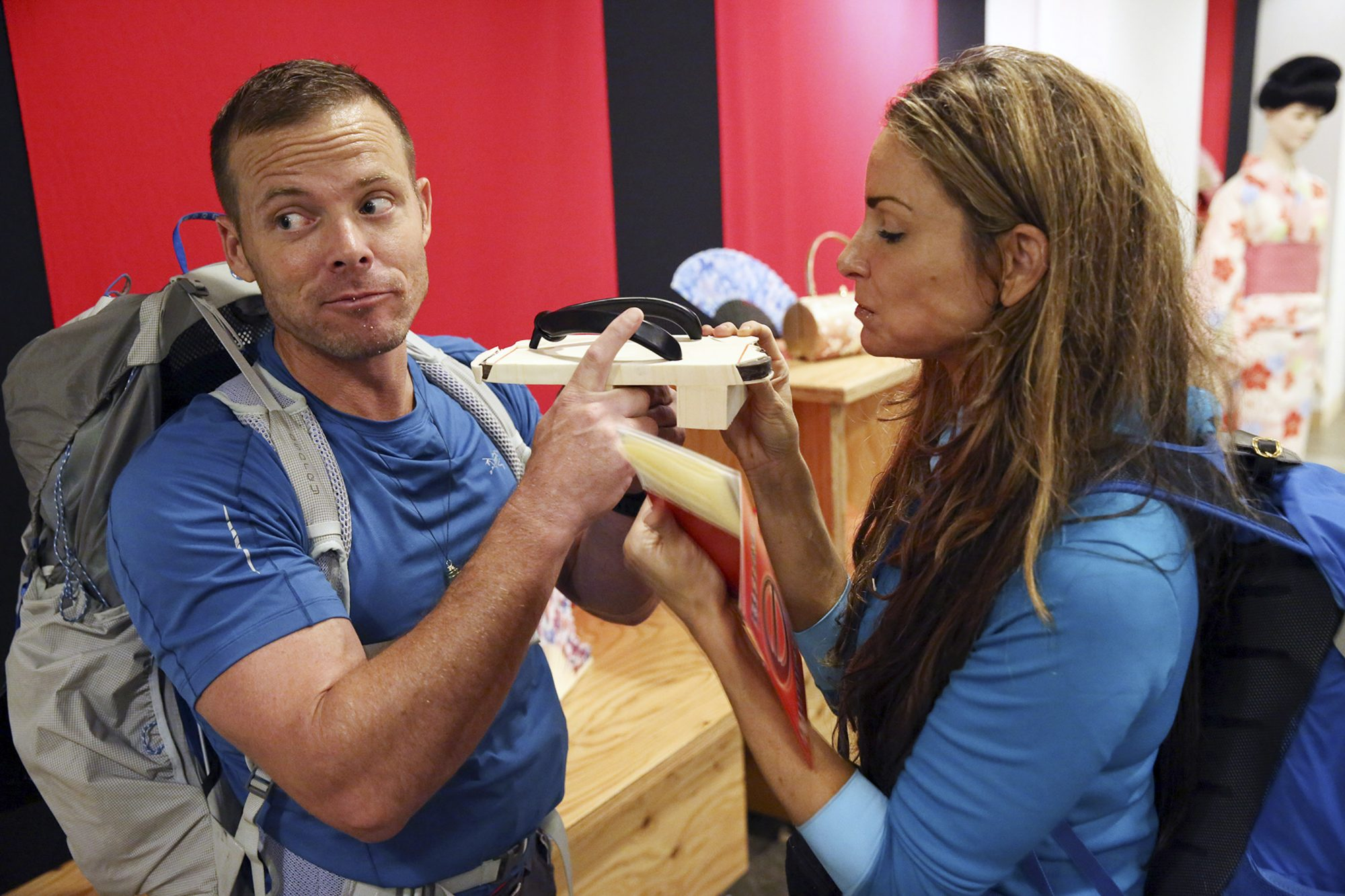 Pictured L-R: Colin Guinn and Christie Woods on THE AMAZING RACE Wednesday, April 17 (9:00-10:00 PM, ET/PT) on the CBS Television Network. Photo: Monty Brinton/CBS ©2018 CBS Broadcasting, Inc. All Rights Reserved