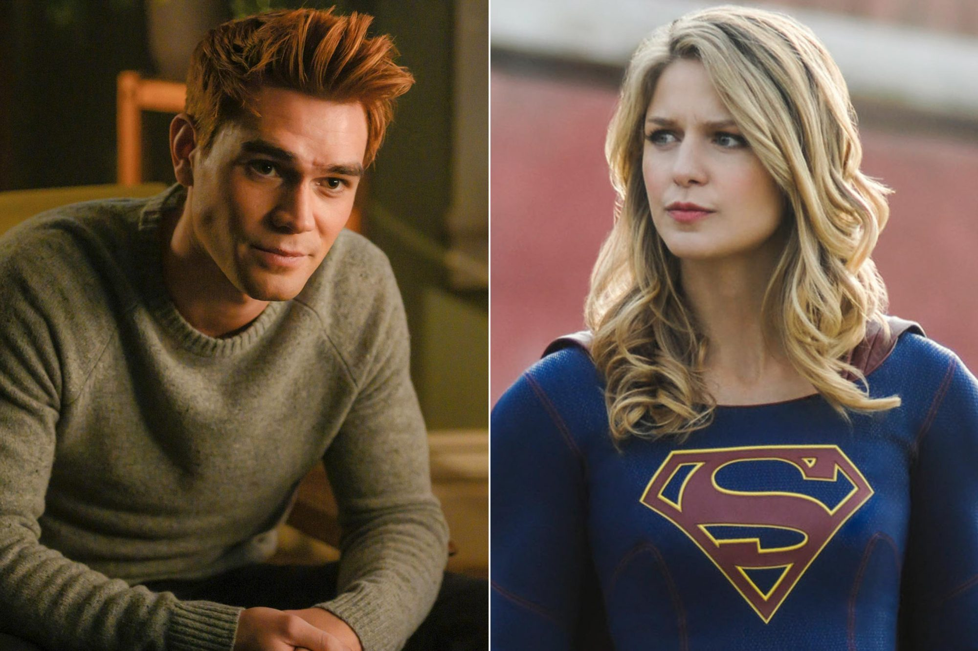 """Riverdale -- """"Chapter Fifty-Three: Jawbreaker"""" -- Image Number: RVD318a_0216.jpg -- Pictured: KJ Apa as Archie -- Photo: Diyah Pera/The CW -- © 2019 The CW Network, LLC. All rights reserved. Supergirl -- """"Blood Memory"""" -- Image Number: SPG411b_0154b.jpg -- Pictured: Melissa Benoist as Kara/Supergirl -- Photo: Sergei Bachlakov/The CW -- © 2019 The CW Network, LLC. All Rights Reserved."""