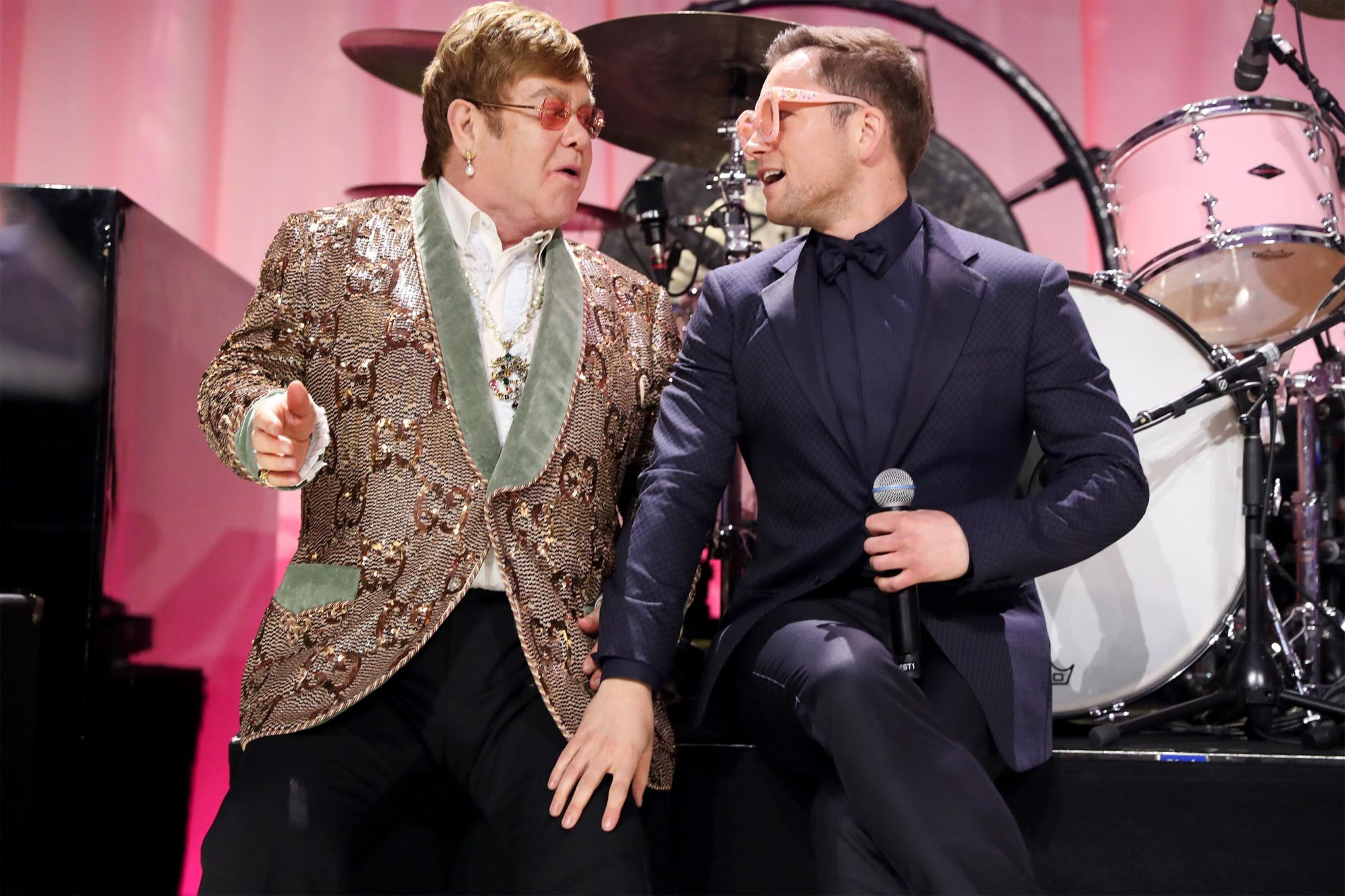 WEST HOLLYWOOD, CA - FEBRUARY 24: Sir Elton John and Taron Egerton perform onstage during the 27th annual Elton John AIDS Foundation Academy Awards Viewing Party sponsored by IMDb and Neuro Drinks celebrating EJAF and the 91st Academy Awards on February 24, 2019 in West Hollywood,California. (Photo by Rich Fury/Getty Images for EJAF)