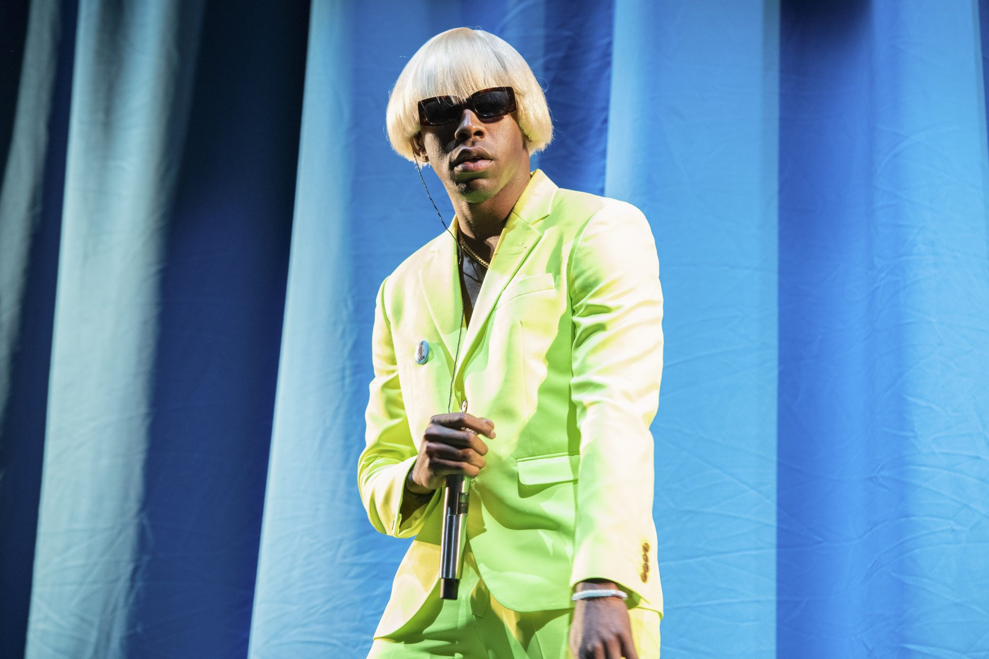 NEW YORK, NEW YORK - MAY 31: Tyler, the Creator performs at the 2019 Governors Ball Festival at Randall's Island on May 31, 2019 in New York City. (Photo by Noam Galai/Getty Images)