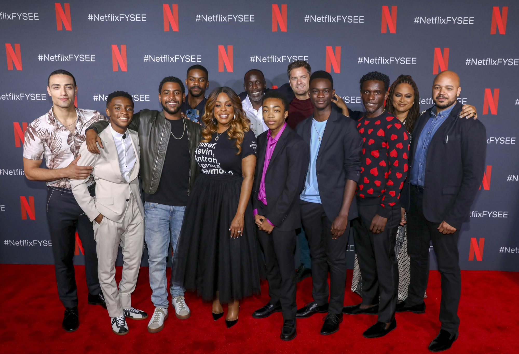 "LOS ANGELES, CALIFORNIA - JUNE 09: Freddy Miyares, Michael K. Williams, Jovan Adepo, Jharrel Jerome, Caleel Harris, Niecy Nash, Asante Blackk, Chris Chalk, Justin Cunningham, Ethan Herisse and Joshua Jackson attend attend the Netflix ""When They See Us"" FYSEE Event at Raleigh Studios on June 09, 2019 in Los Angeles, California. (Photo by Handout/Getty Images for Netflix)"