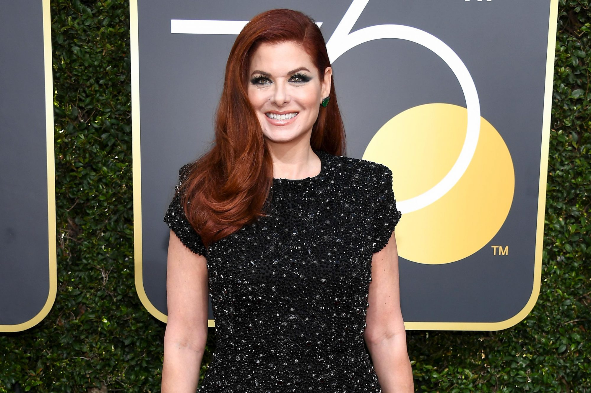 BEVERLY HILLS, CA - JANUARY 07: 75th ANNUAL GOLDEN GLOBE AWARDS -- Pictured: Actor Debra Messing arrives to the 75th Annual Golden Globe Awards held at the Beverly Hilton Hotel on January 7, 2018. (Photo by Kevork Djansezian/NBC/NBCU Photo Bank via Getty Images)