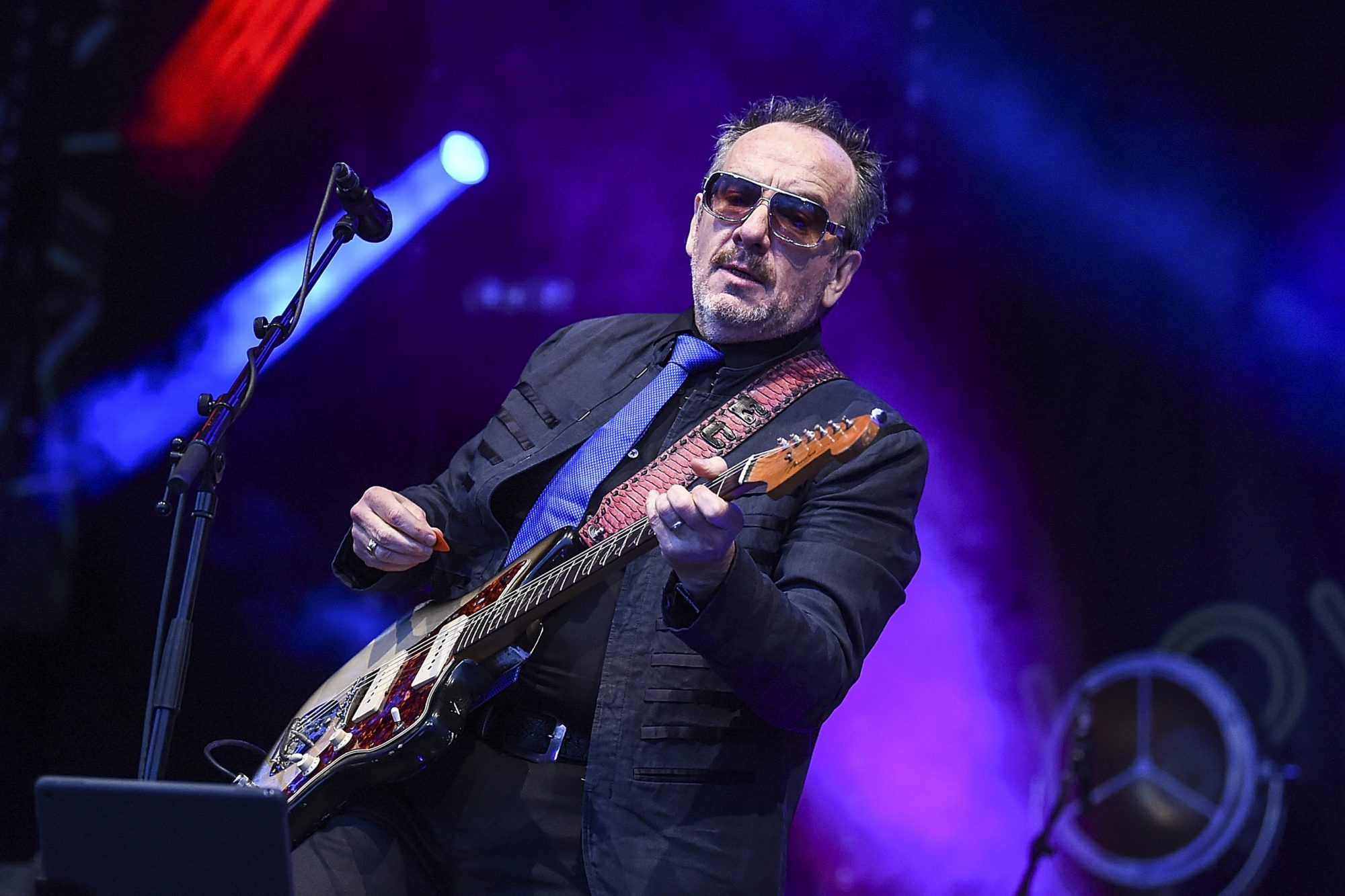 BRIGHTON, ENGLAND - JUNE 30: Elvis Costello & The Imposters headline the Main Stage on day 2 of Love Supreme Festival on June 30, 2018 in Brighton, England. (Photo by Tabatha Fireman/Redferns,)