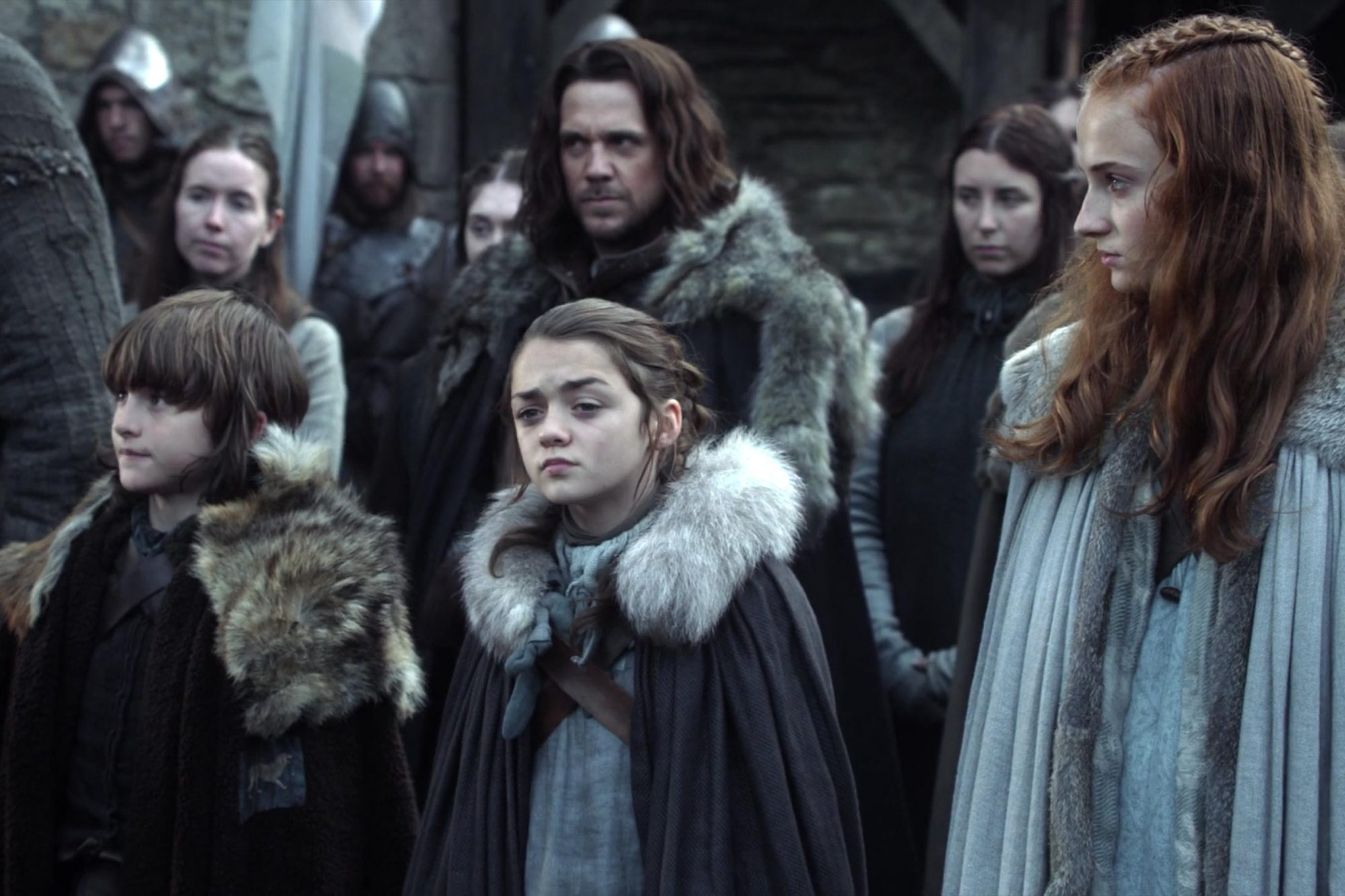 Game of Thrones (screen grab) Winter Is Coming Season 1, Episode 1 Isaac Hempstead Wright as Bran Stark, Maisie Williams as Arya Stark, Sophie Turner as Sansa Stark