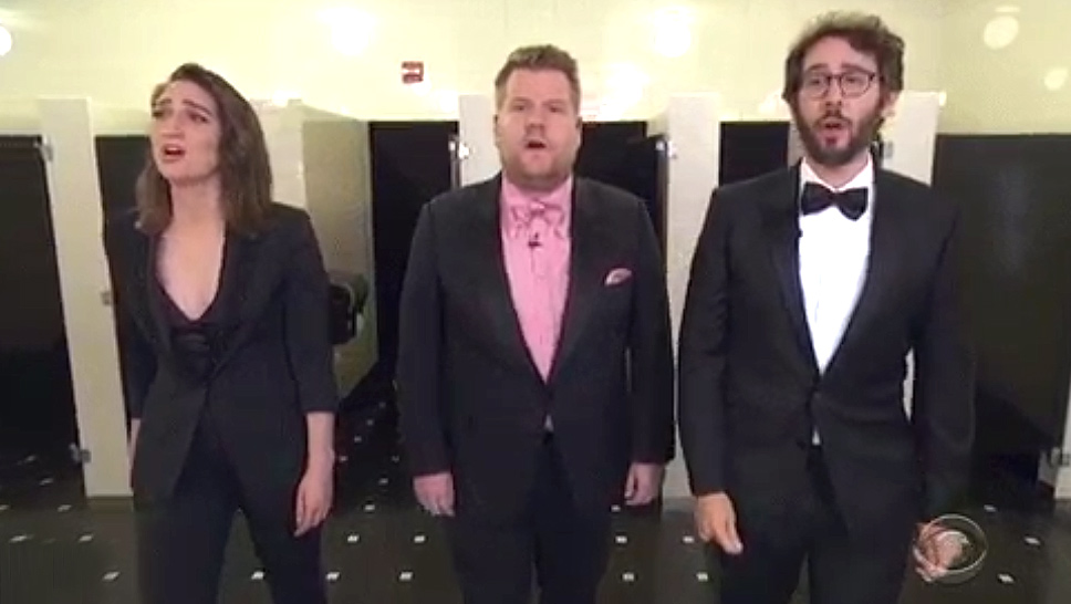 Sara Bareilles, James Corden, and Josh Groban