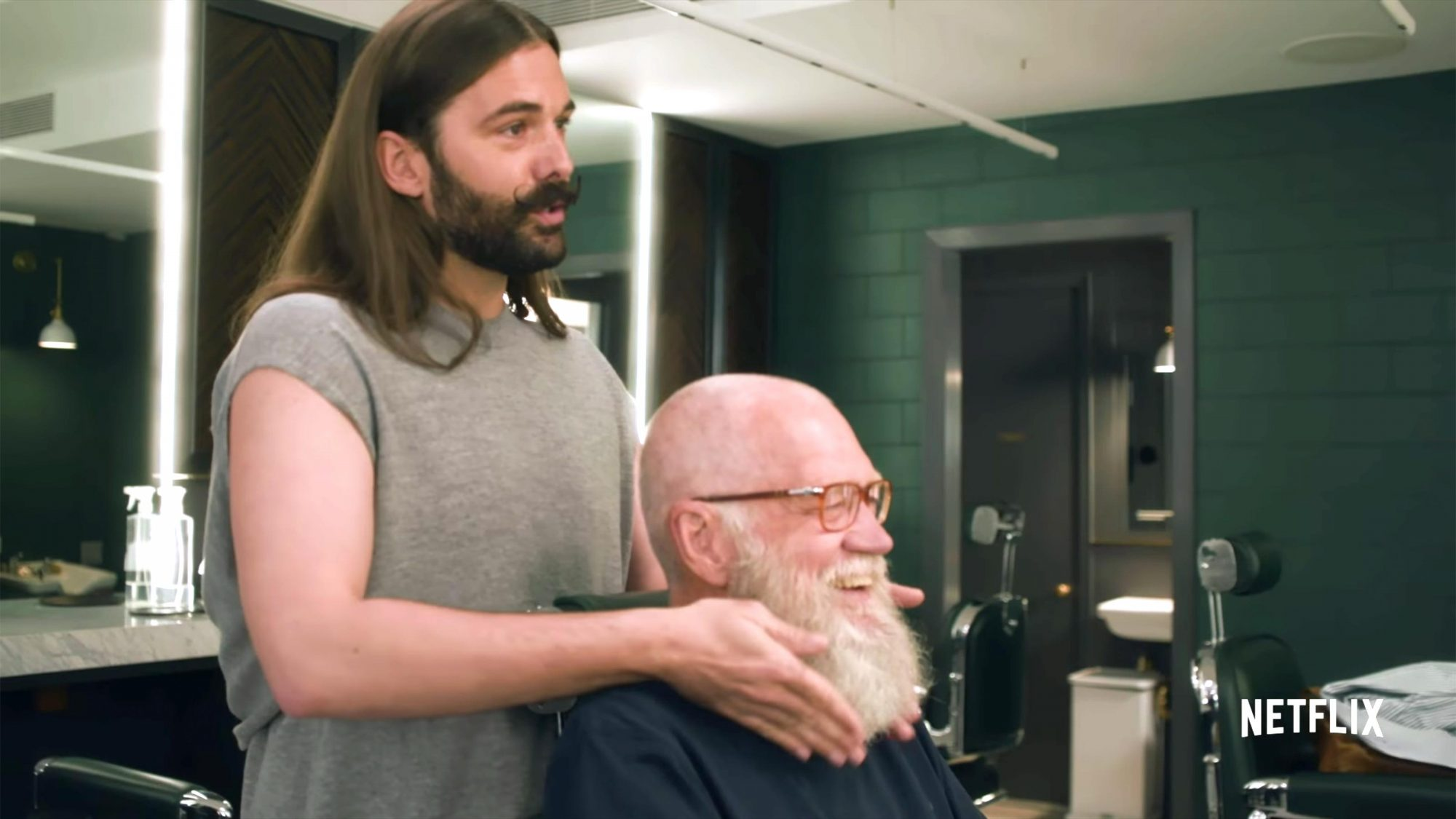 David Letterman and Jonathan Van Ness on Beard Trims, Self Care, Gender and LGBTQ Rights | Netflix (screen grab) https://www.youtube.com/watch?v=v_dHWI4CzUU CR: Netflix