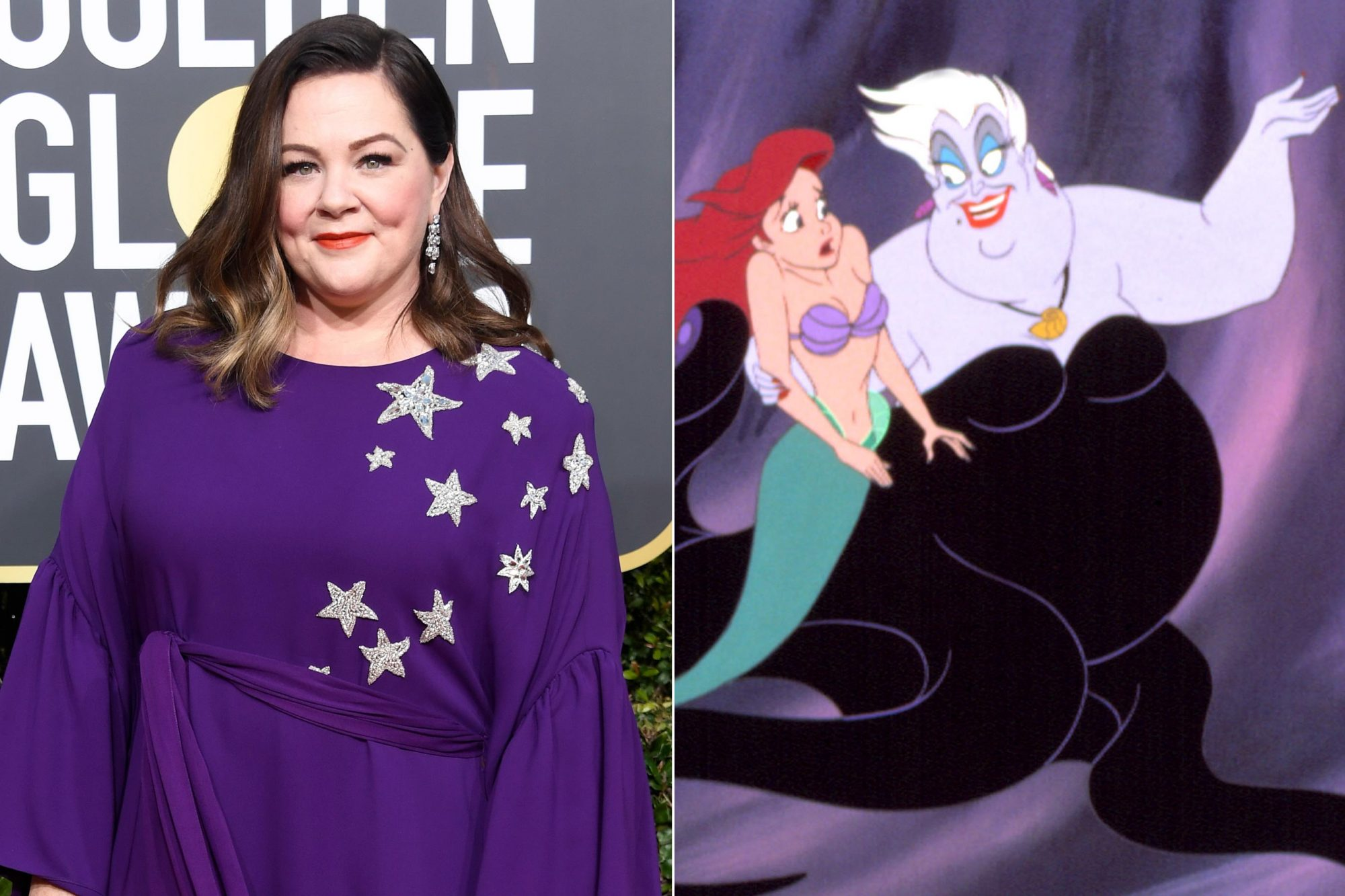 BEVERLY HILLS, CA - JANUARY 06: Melissa McCarthy attends the 76th Annual Golden Globe Awards at The Beverly Hilton Hotel on January 6, 2019 in Beverly Hills, California. (Photo by Frazer Harrison/Getty Images) THE LITTLE MERMAID, Ariel, Ursula, 1989