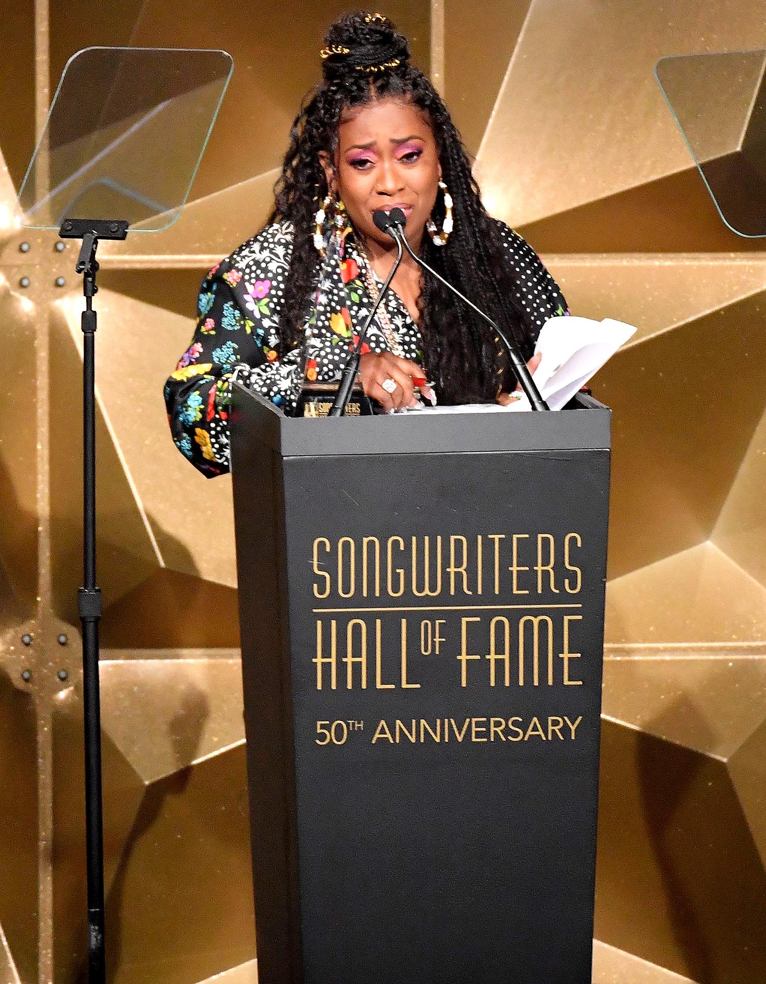 Missy Elliott speaks onstage during the 2019 Songwriters Hall Of Fame Gala